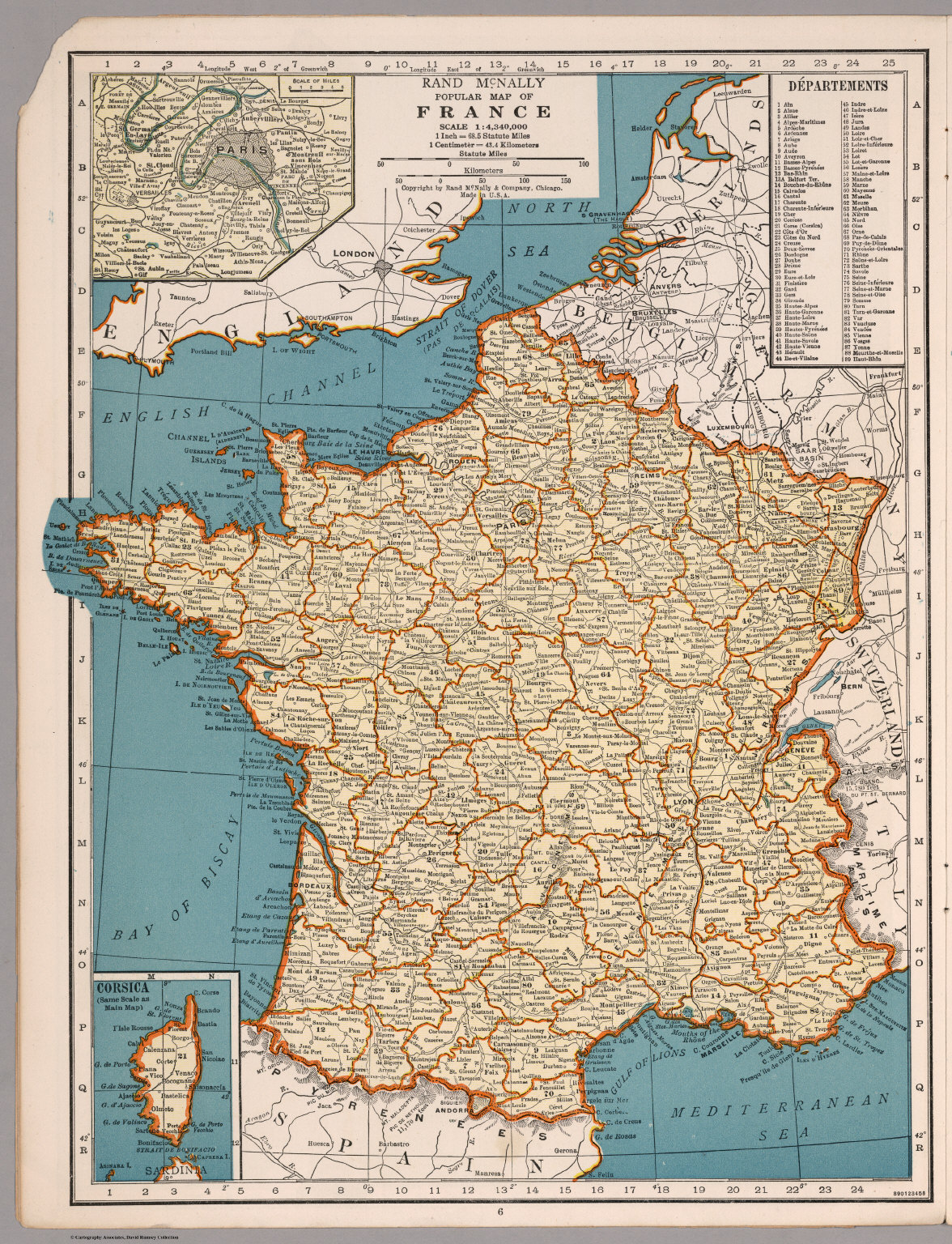 Rand mcnally popular map of france david rumsey historical map rand mcnally popular map of france gumiabroncs Images