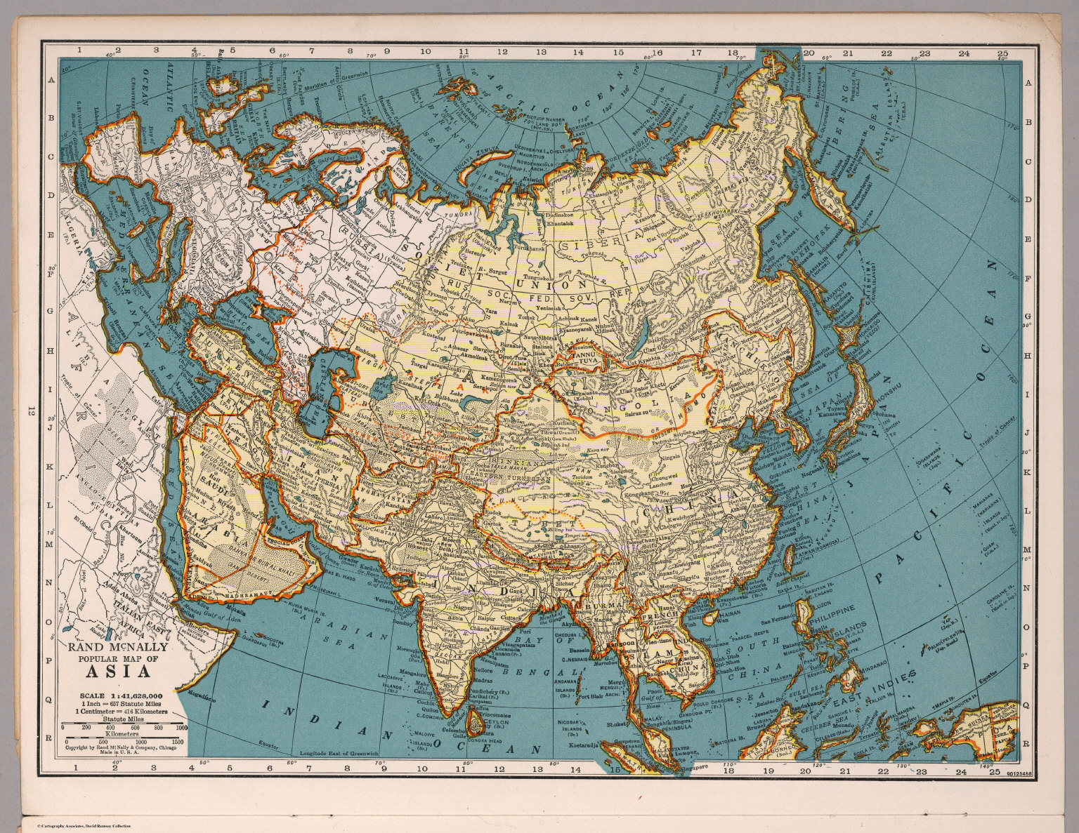 World Atlas Map Of Asia.Rand Mcnally Popular Map Asia David Rumsey Historical Map Collection
