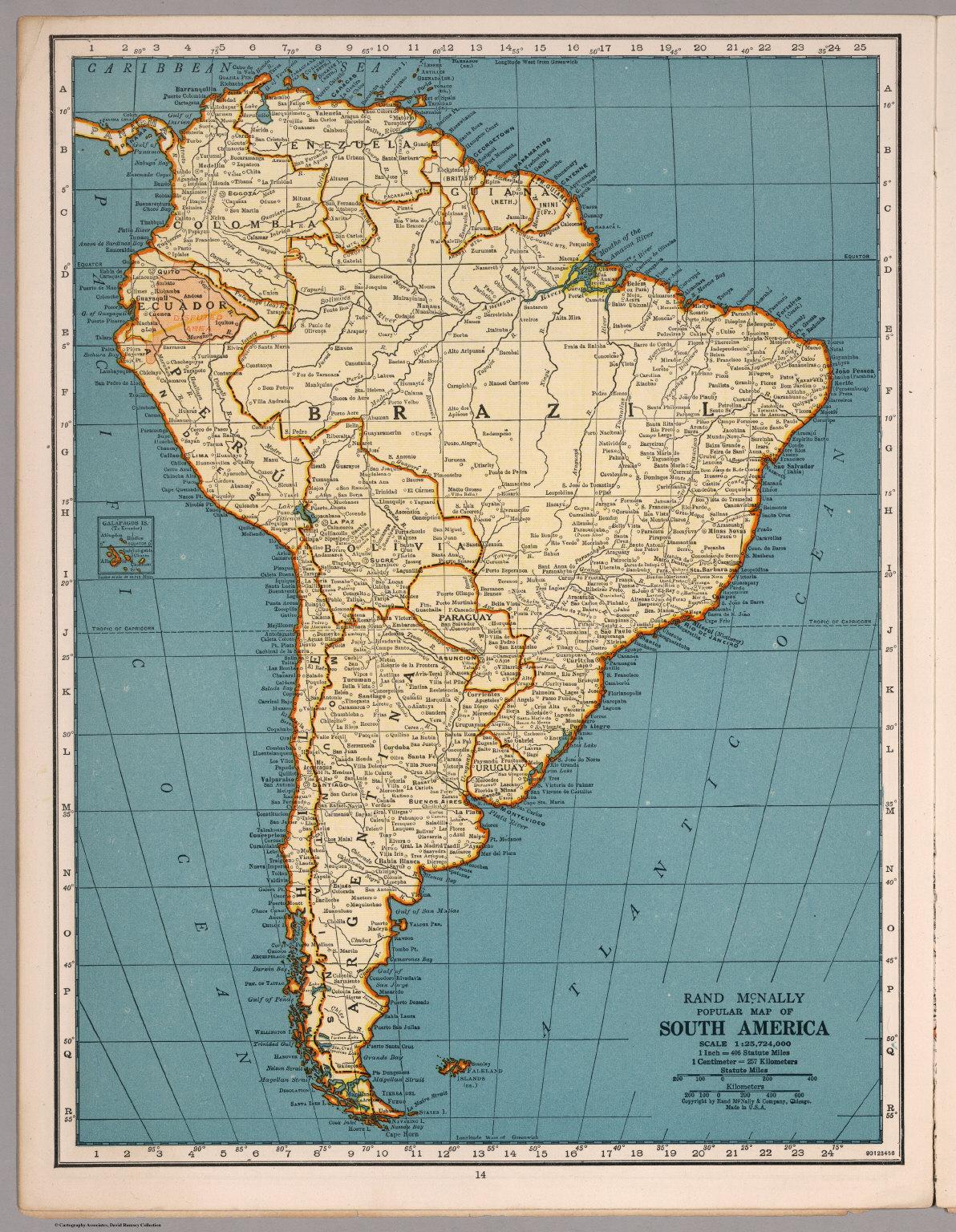 Rand McNally Popular map South America David Rumsey Historical