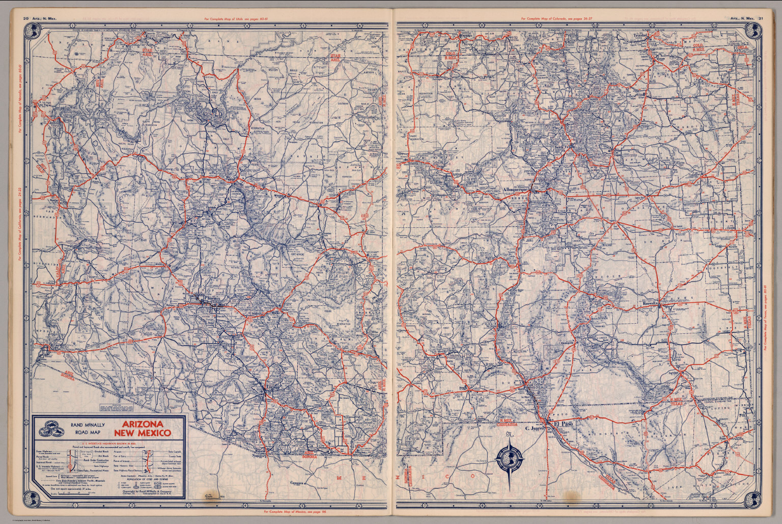 Road map of Arizona, New Mexico - David Rumsey Historical Map Collection