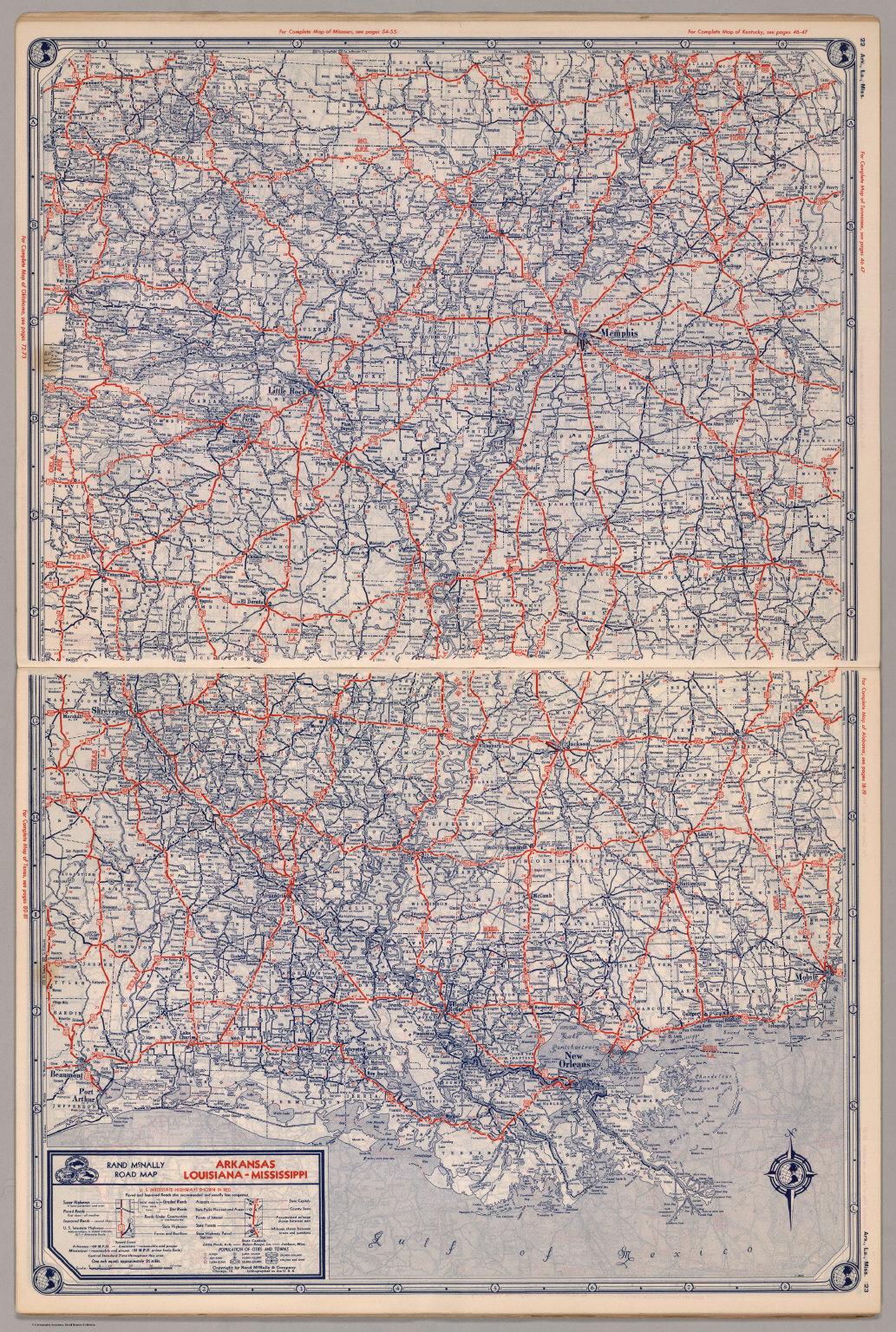 Road Map Of Arkansas Louisiana Mississippi David Rumsey