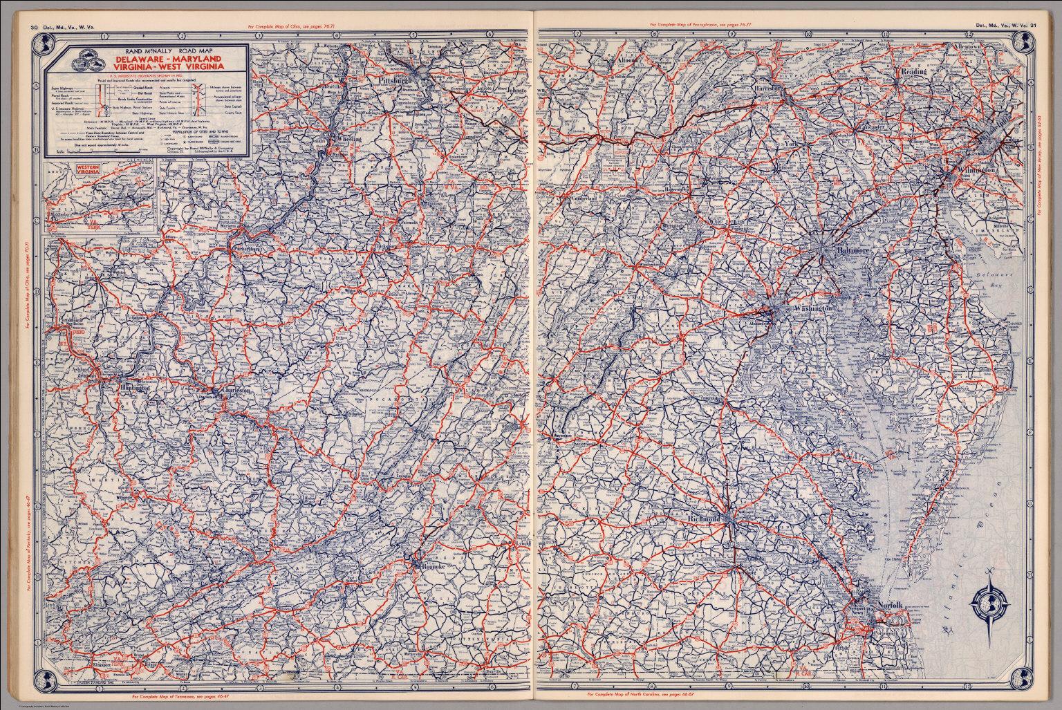 Road map of Delaware, Maryland, Virginia, West Virginia ...