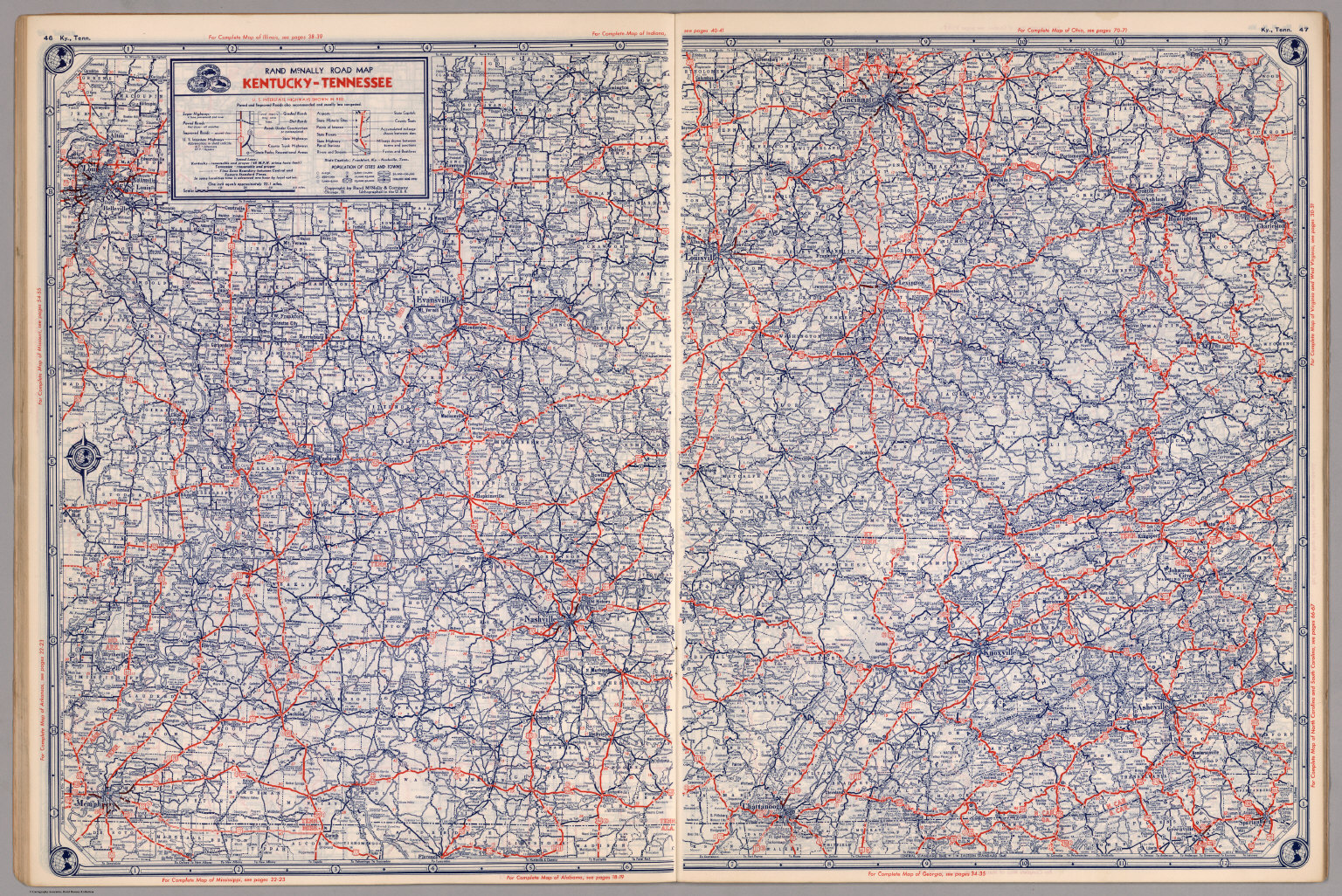 Road map of Kentucky-Tennessee - David Rumsey Historical Map Collection