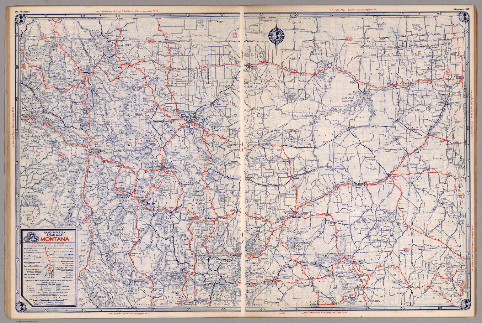 picture about Printable Map of Montana titled Highway map of Montana - David Rumsey Ancient Map Variety