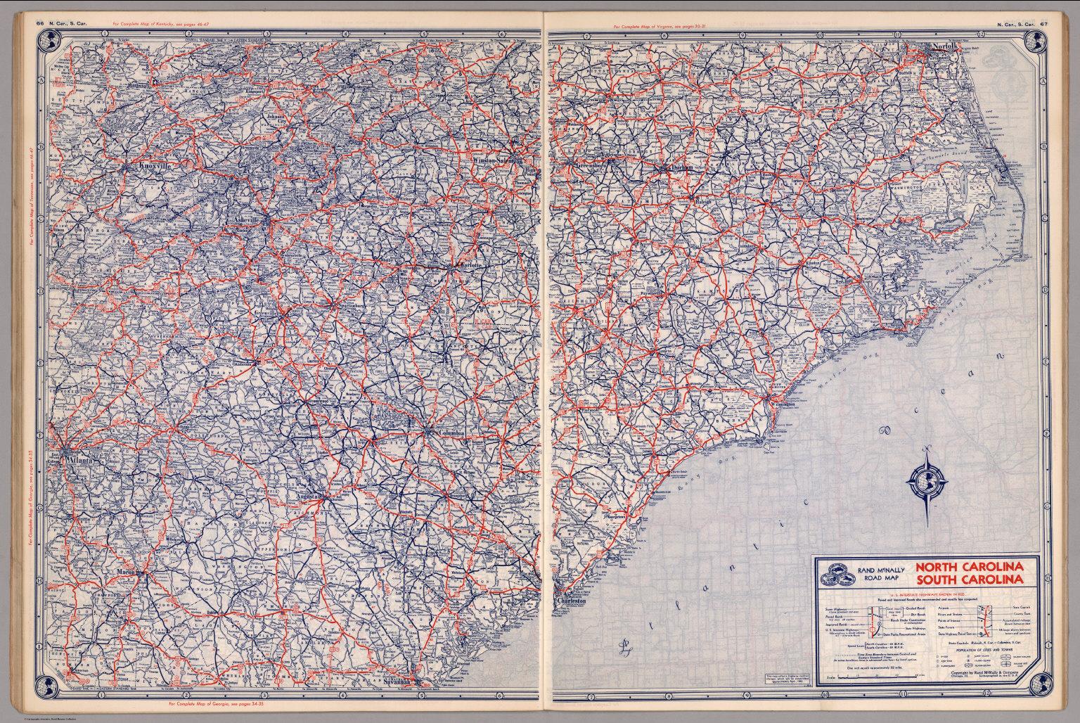 Road map of North Carolina, South Carolina - David Rumsey Historical ...