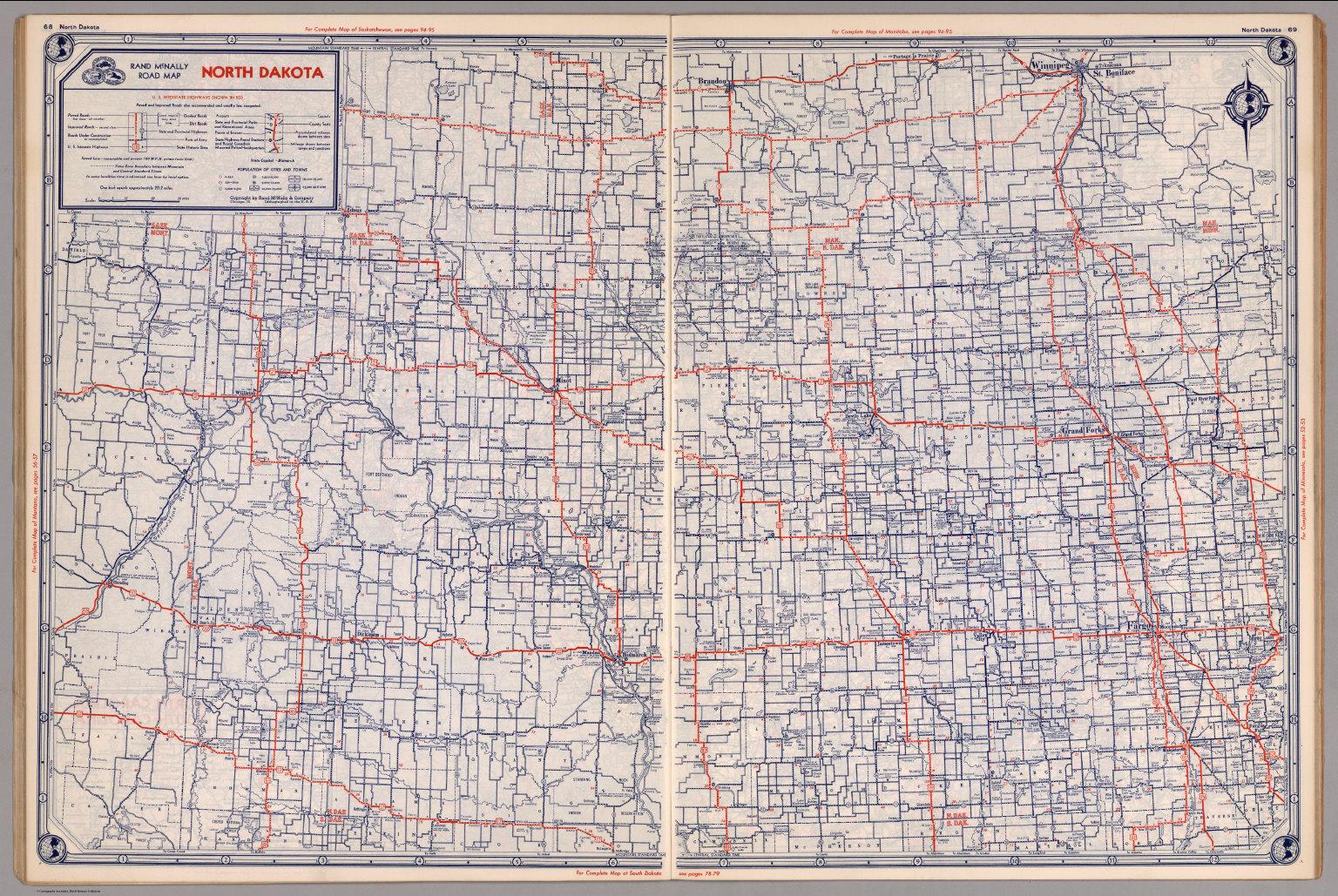 Road map of North Dakota - David Rumsey Historical Map Collection Road Map South Dakota on