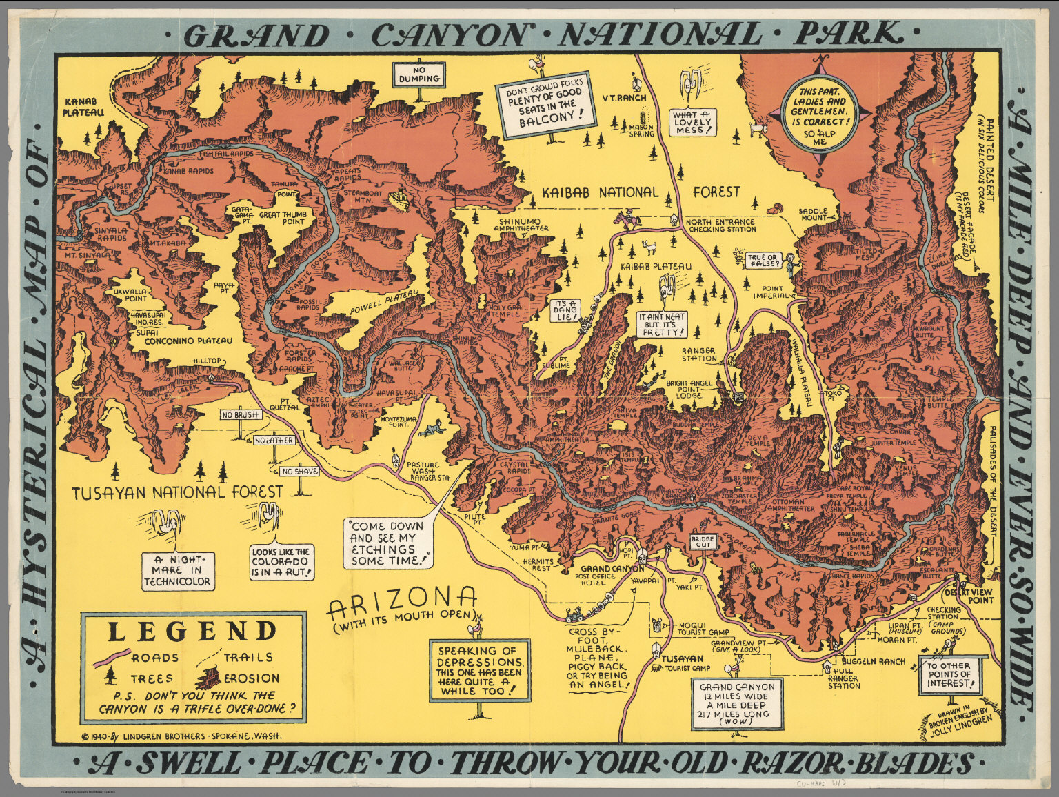 A Hysterical Map of the Grand Canyon National Park David Rumsey