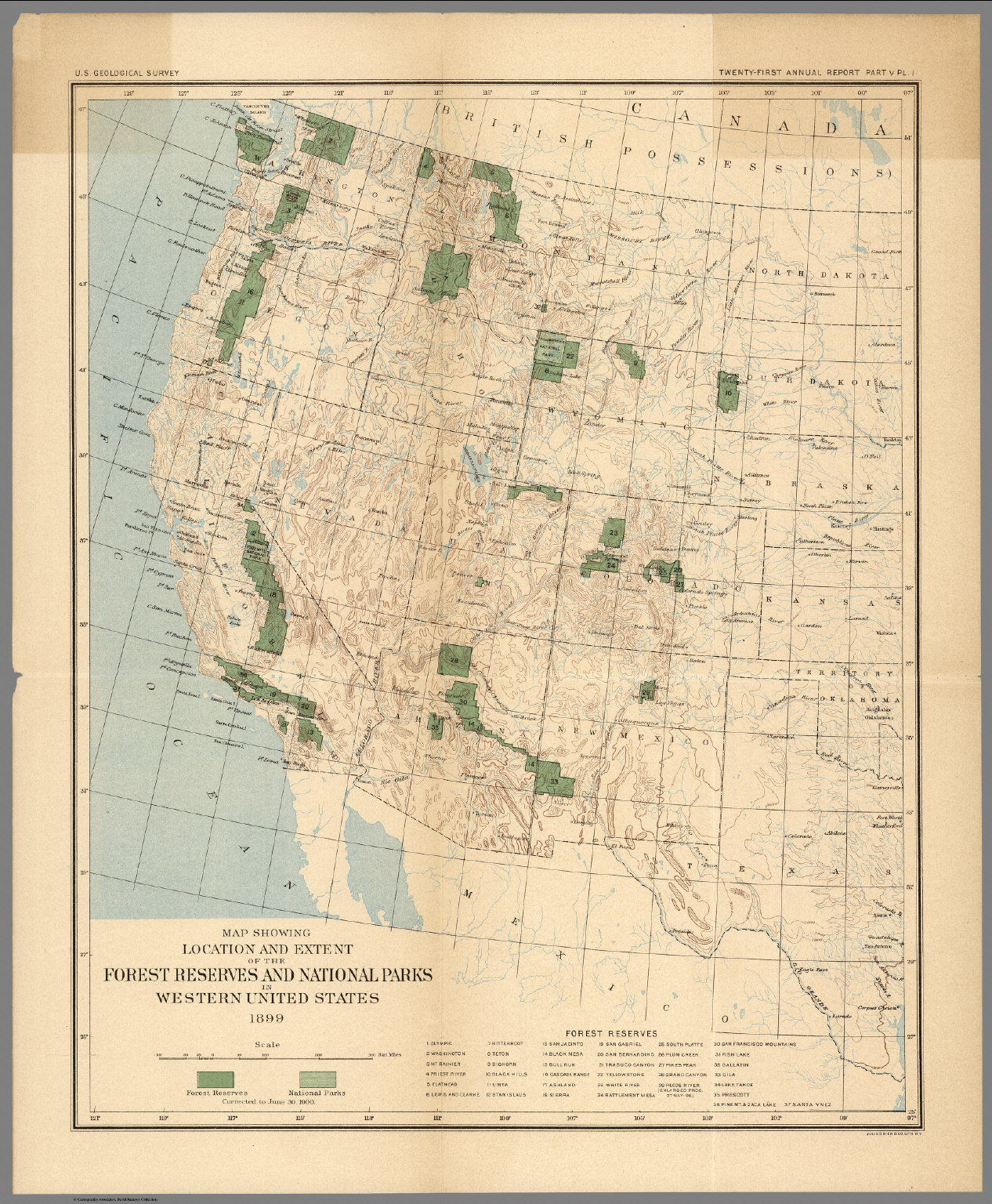 Plate I The Forest Reserves And National Parks In Western United - Map-of-national-parks-in-western-us