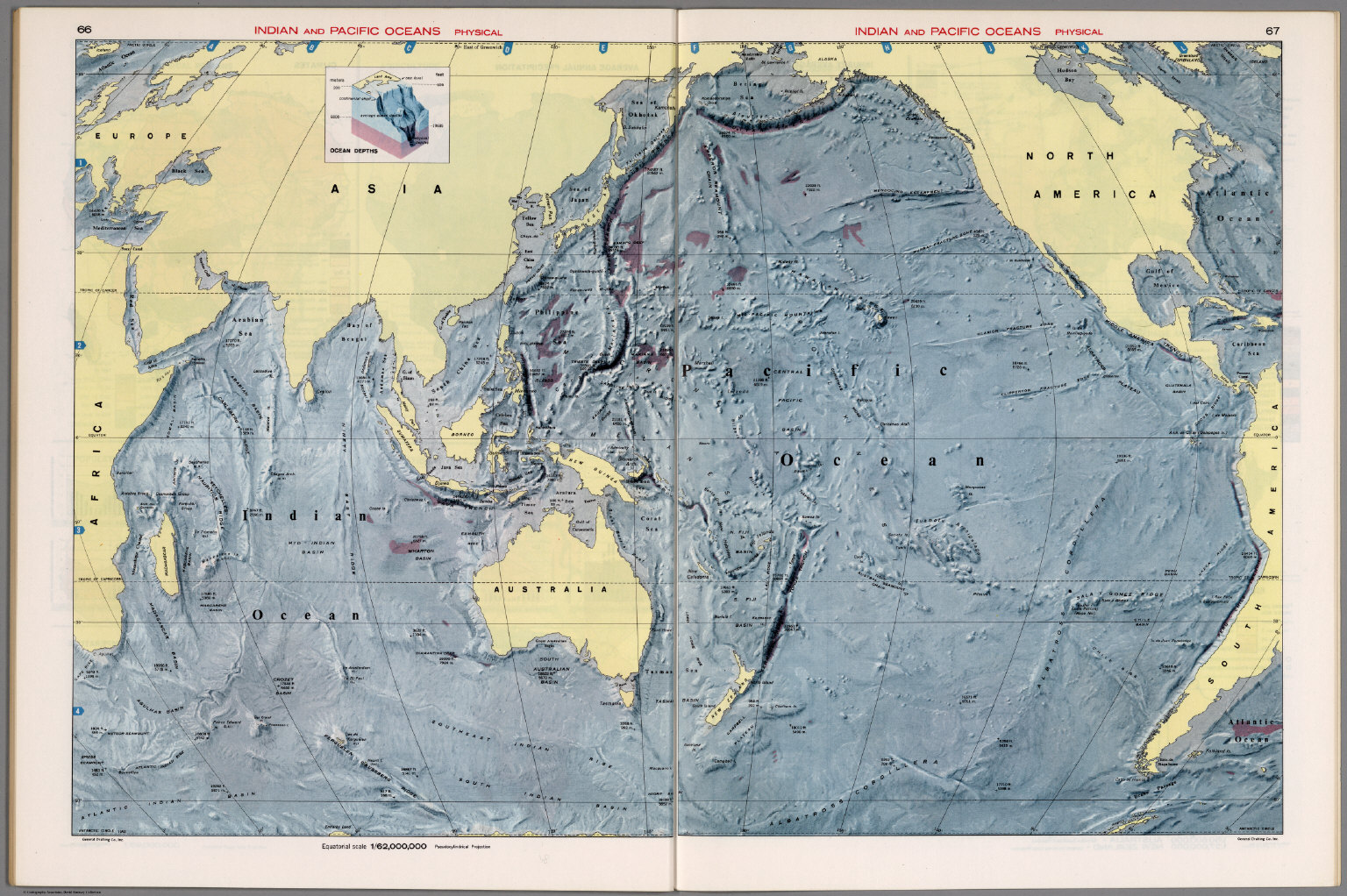 Indian and Pacific Oceans Physical David Rumsey Historical Map