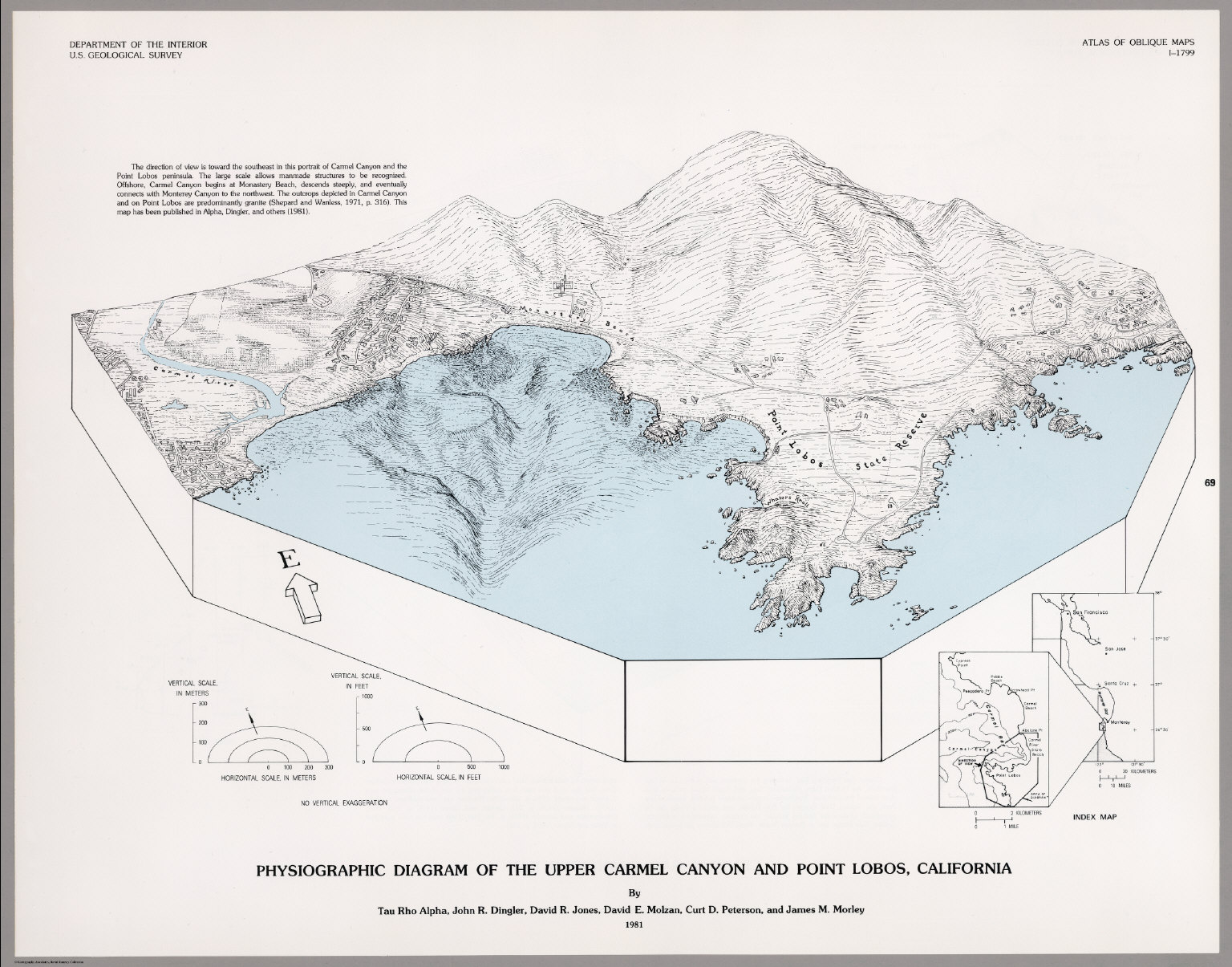 Physiographic diagram of the upper carmel canyon and point lobos physiographic diagram of the upper carmel canyon and point lobos california david rumsey historical map collection ccuart Choice Image