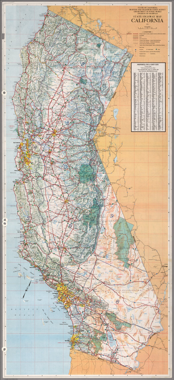 state highway map california 1970 david rumsey historical map