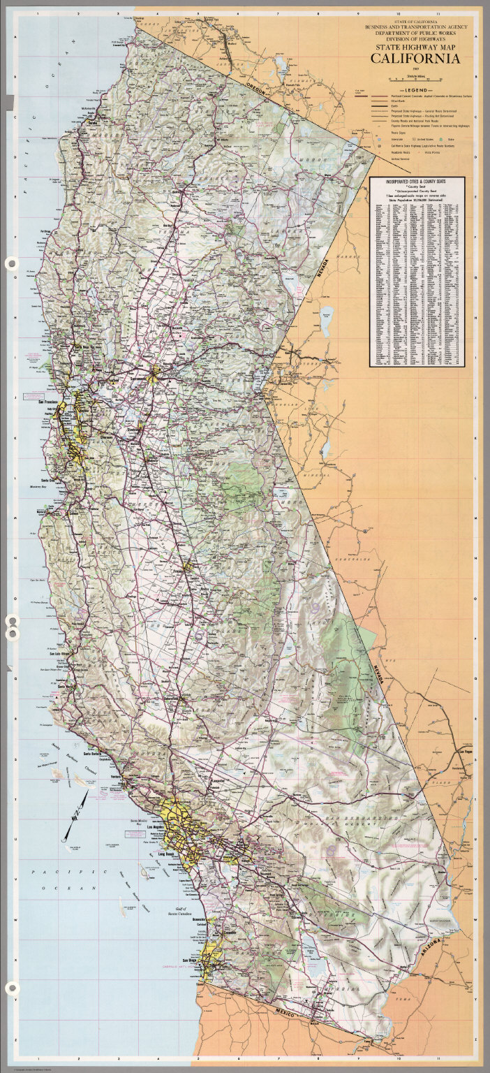 State Highway Map California 1969 David Rumsey Historical Map