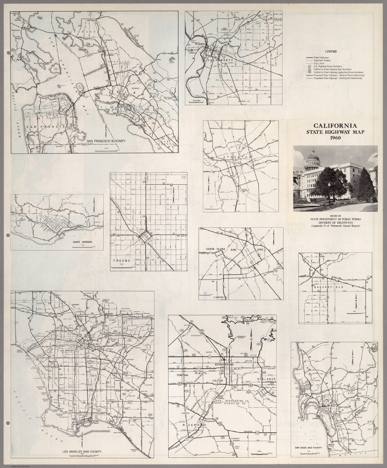 (Verso) State Highway Map, California, 1960.