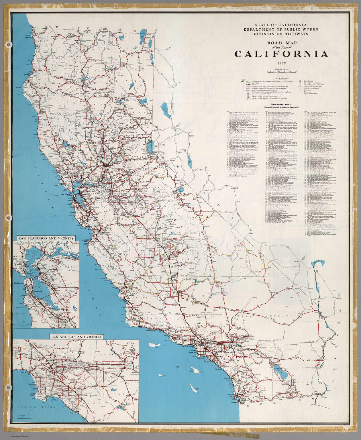 Road Map of the State of California, 1959.