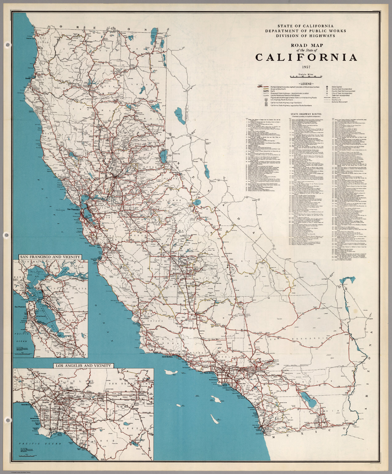 Road Map of the State of California, 1957. - David Rumsey Historical ...