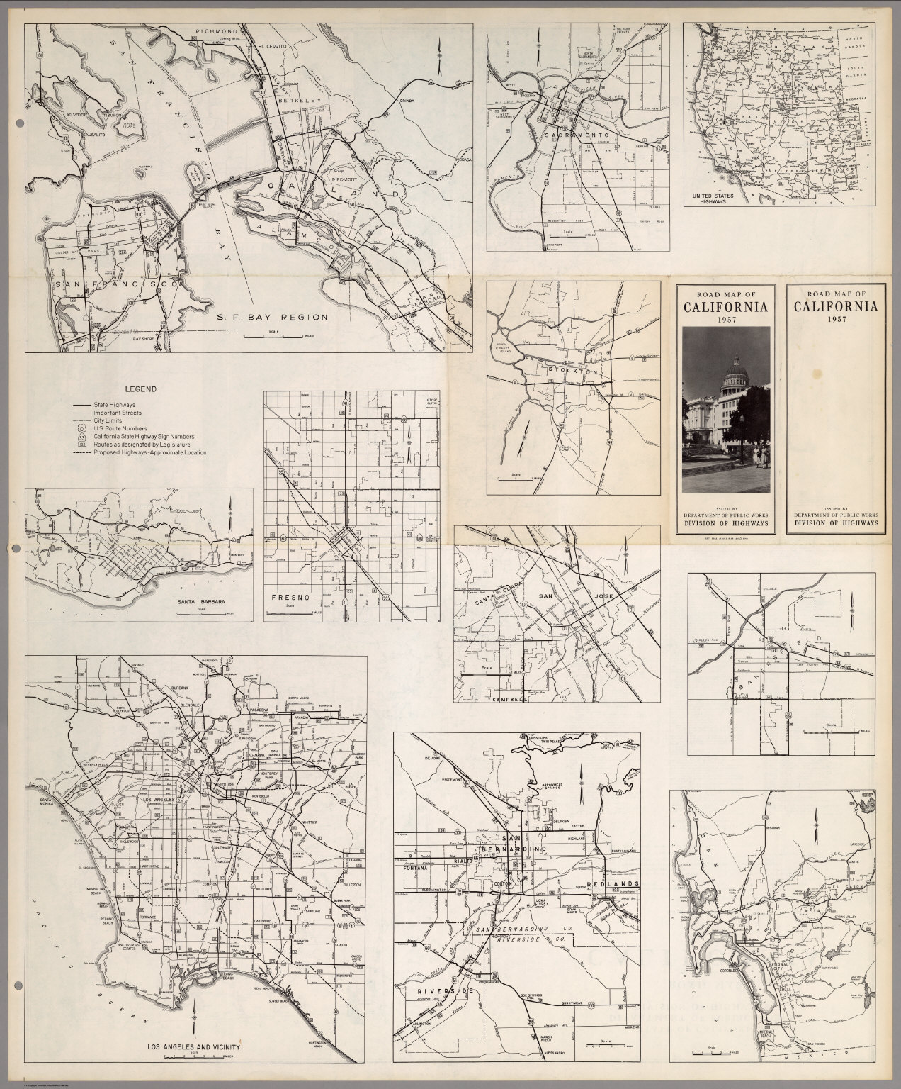 (Verso) Road Map of the State of California, 1957.