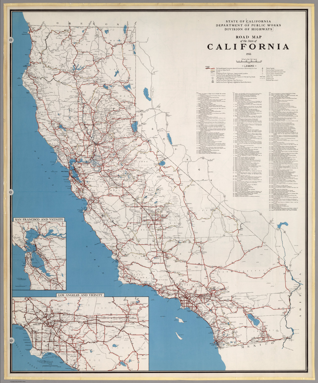 Road Map of the State of California, 1955. - David Rumsey Historical California Road Map Of State on
