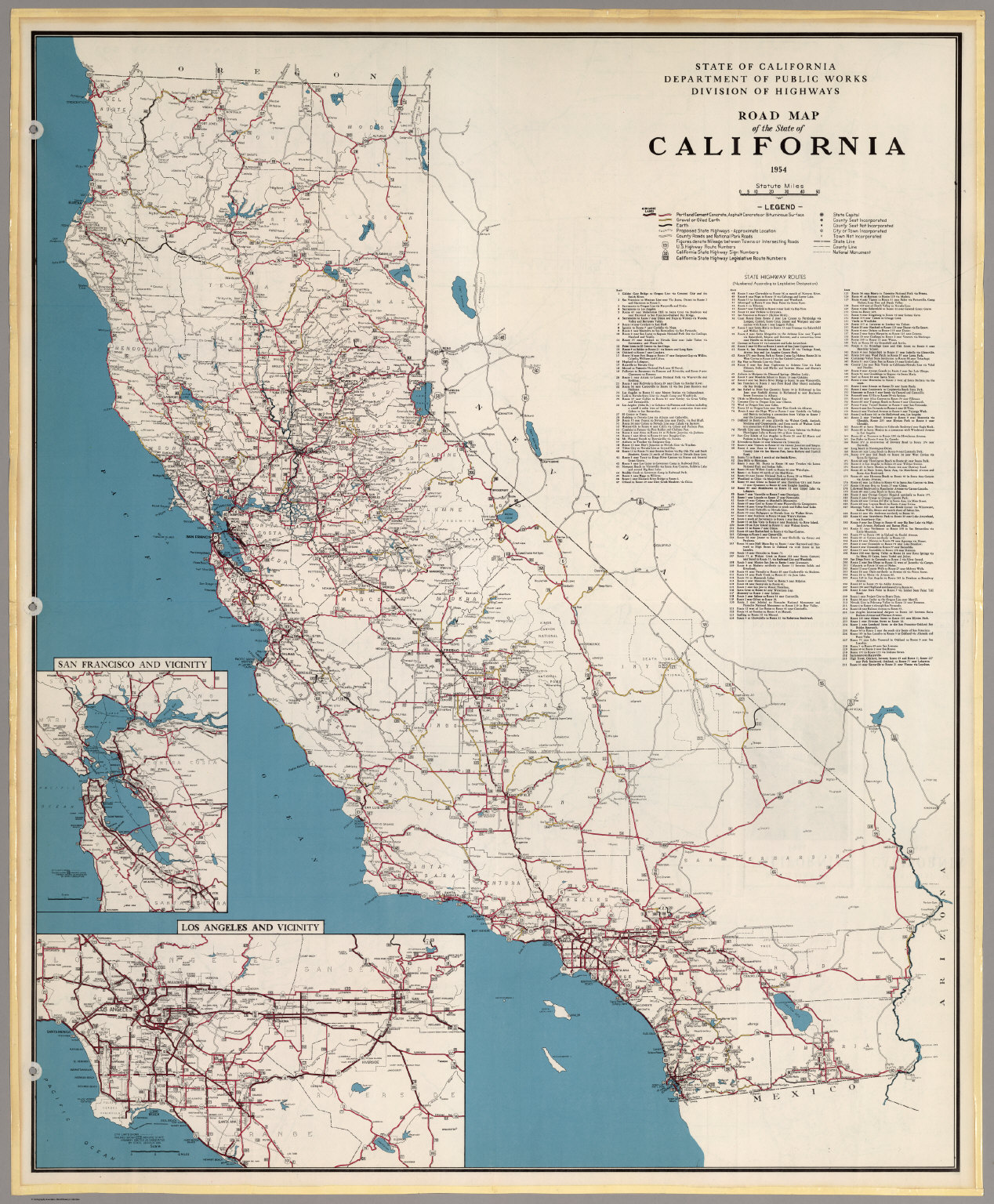 Road Map of the State of California, 1954.