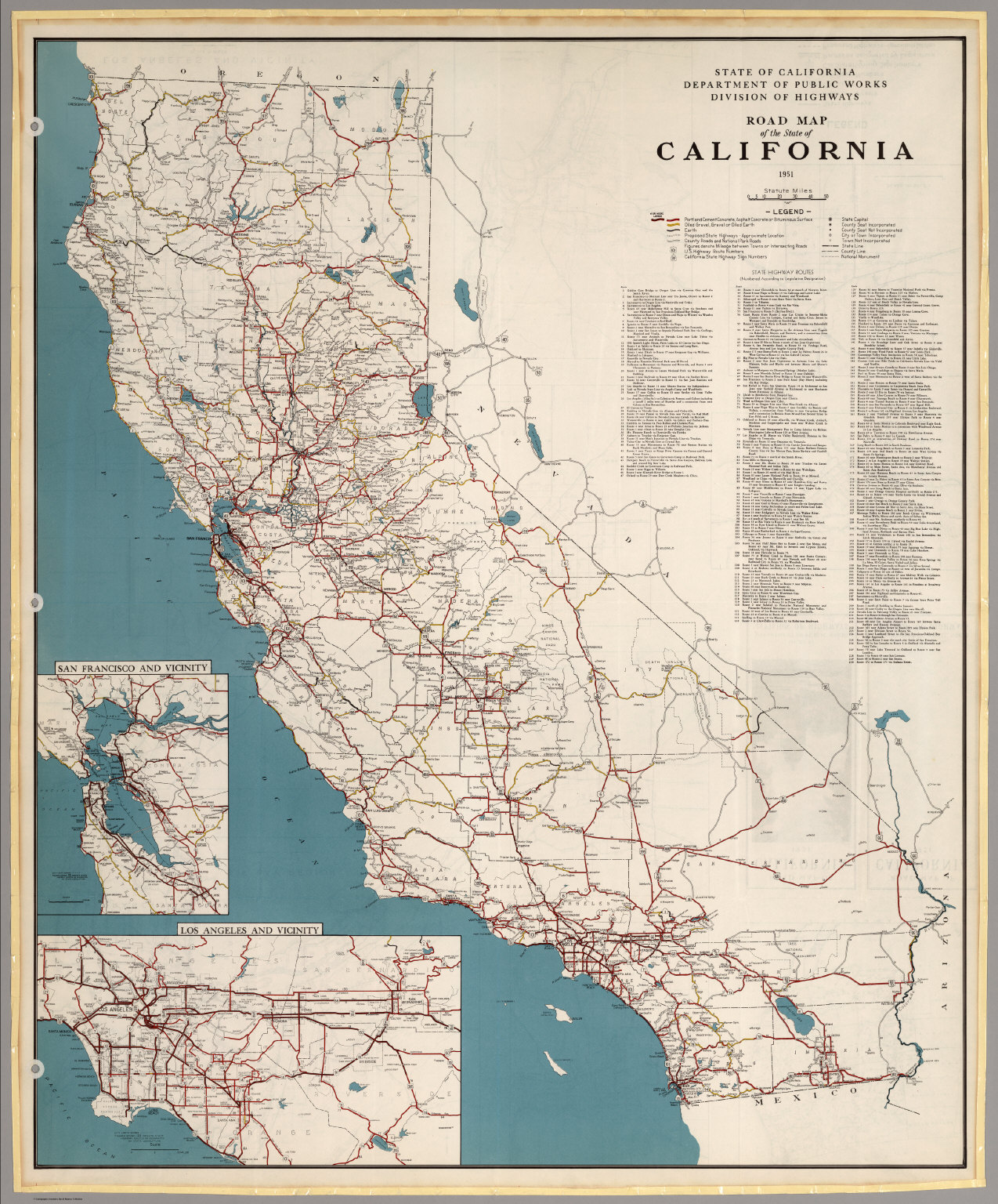 Road Map of the State of California, 1951.