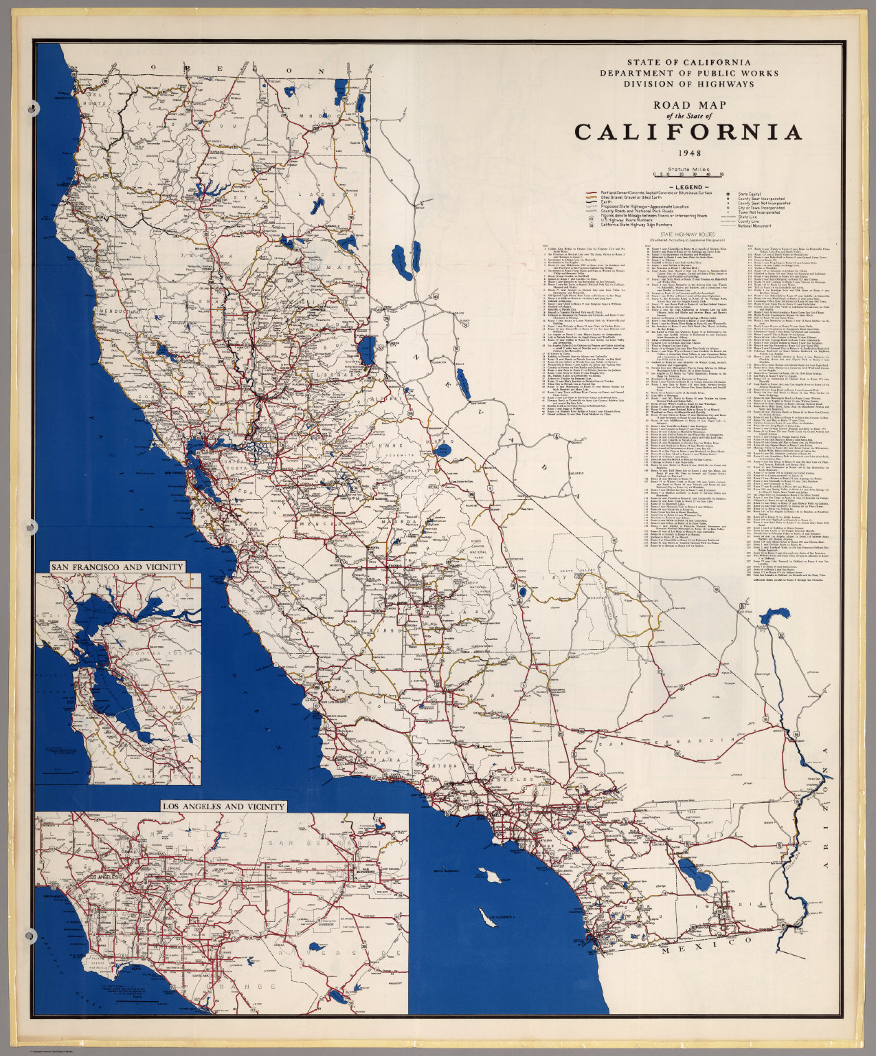 Road Map of the State of California, 1948.