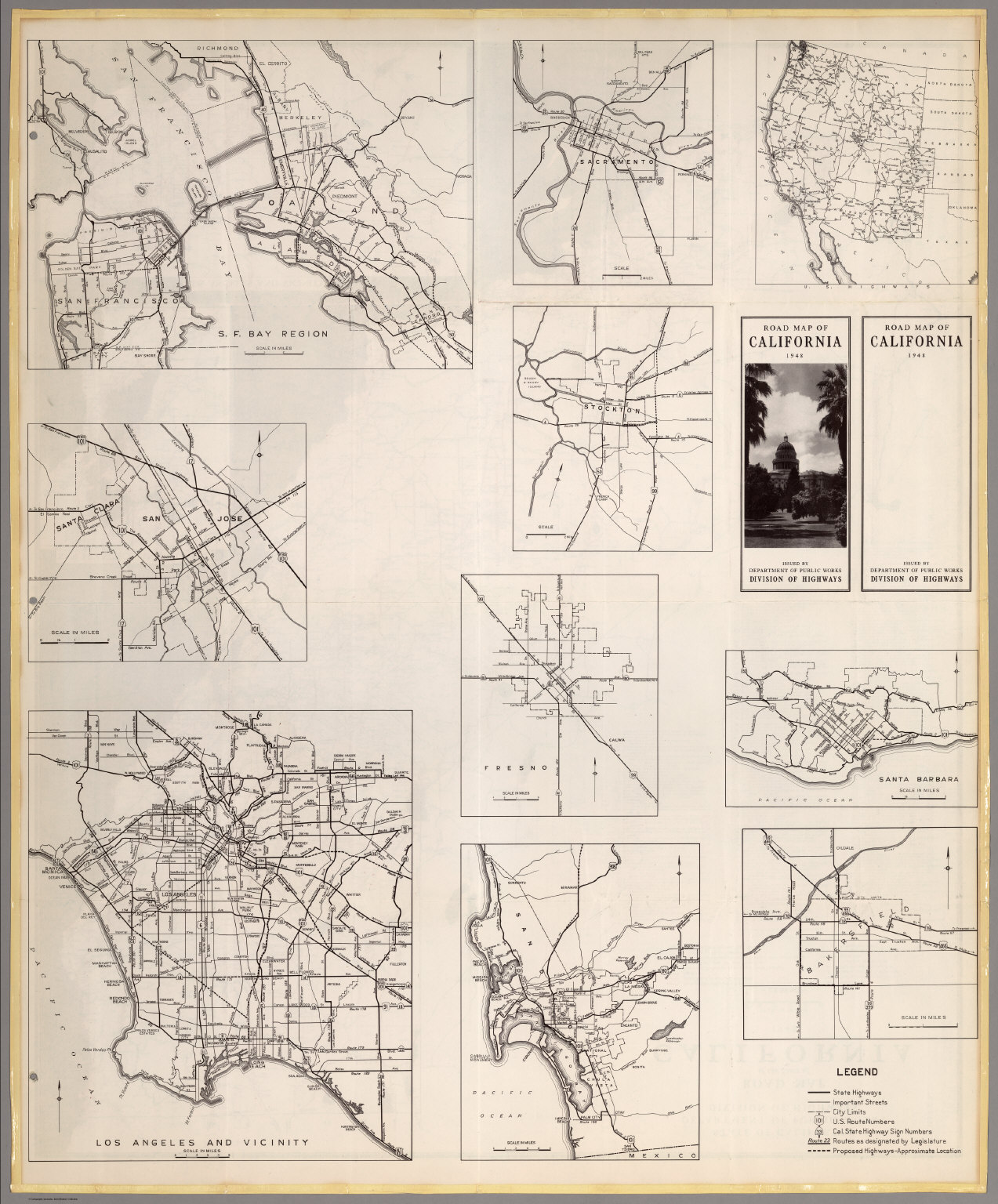 (Verso) Road Map of the State of California, 1948.