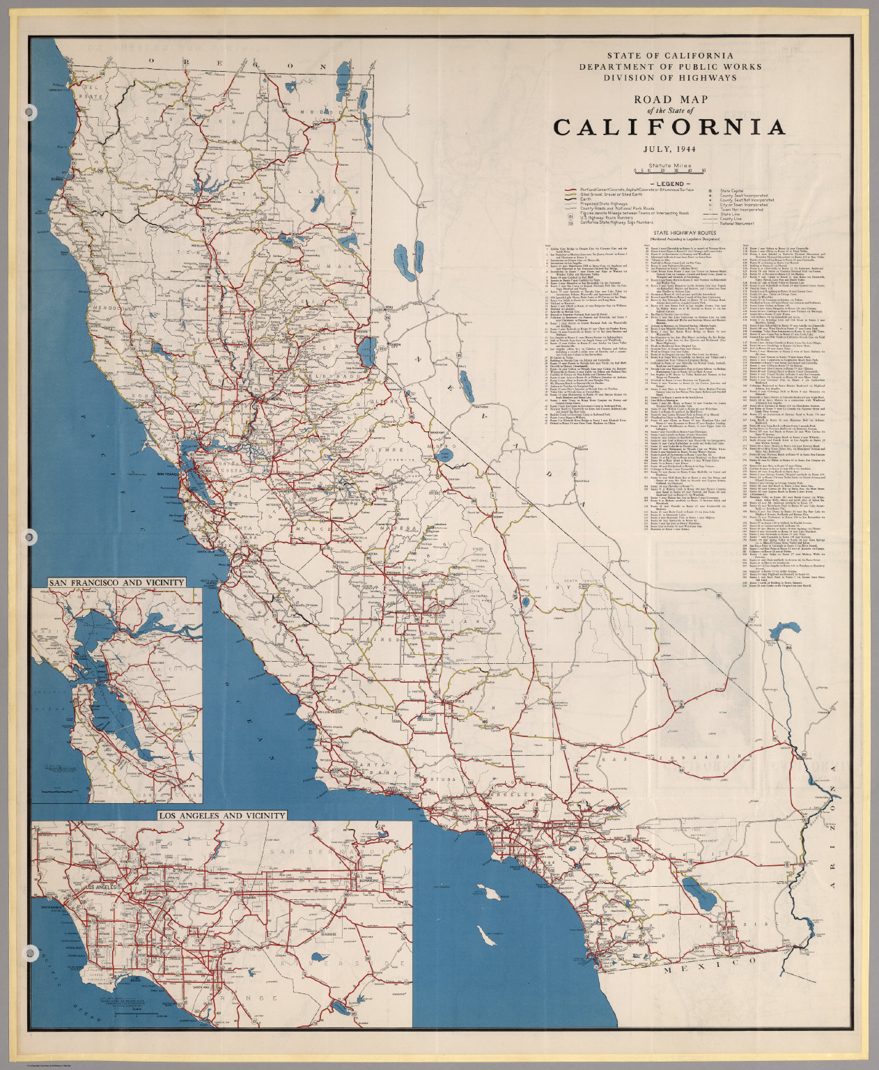 Road Map of the State of California, July, 1944.