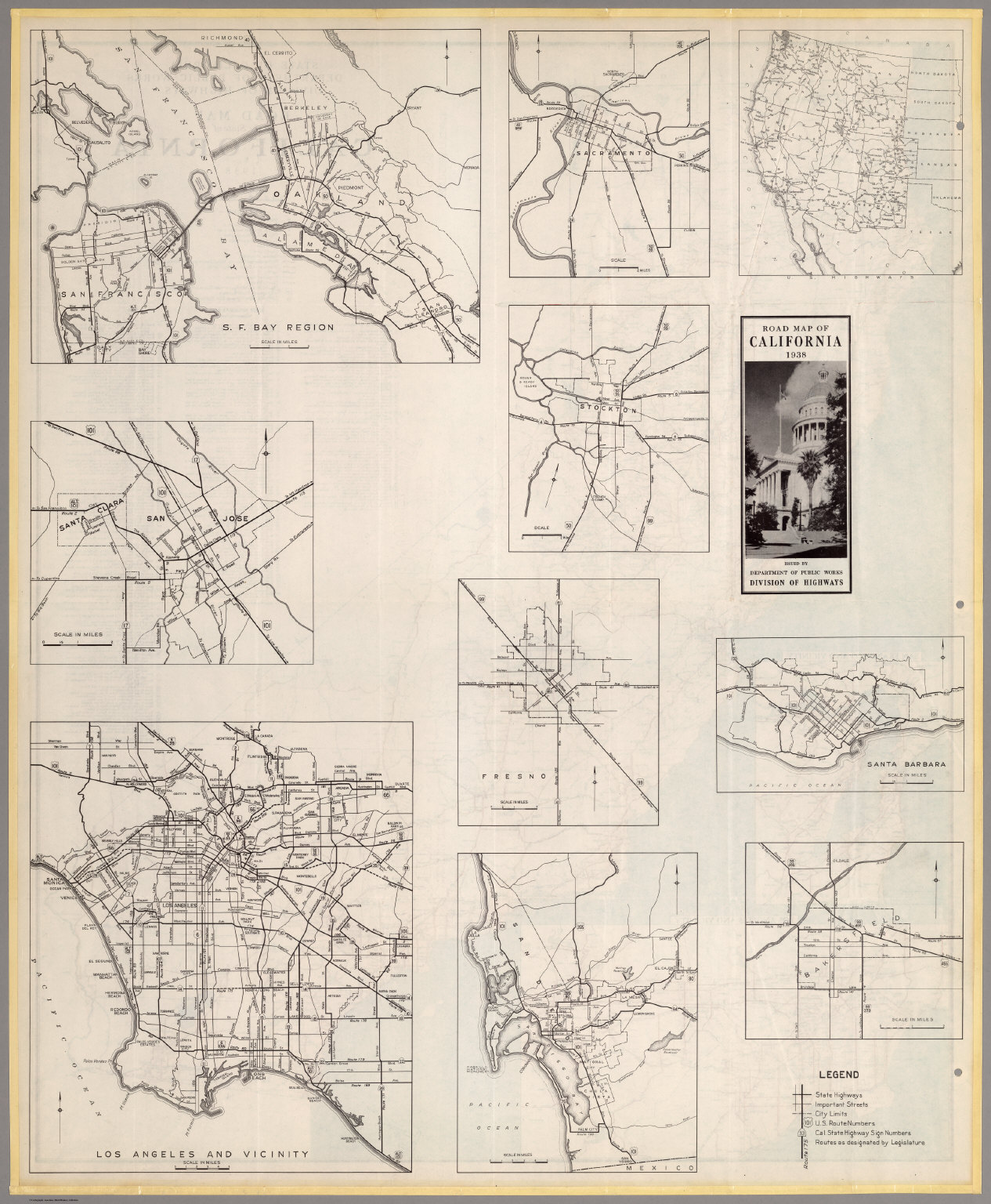 (Verso) Road Map of the State of California, 1938.