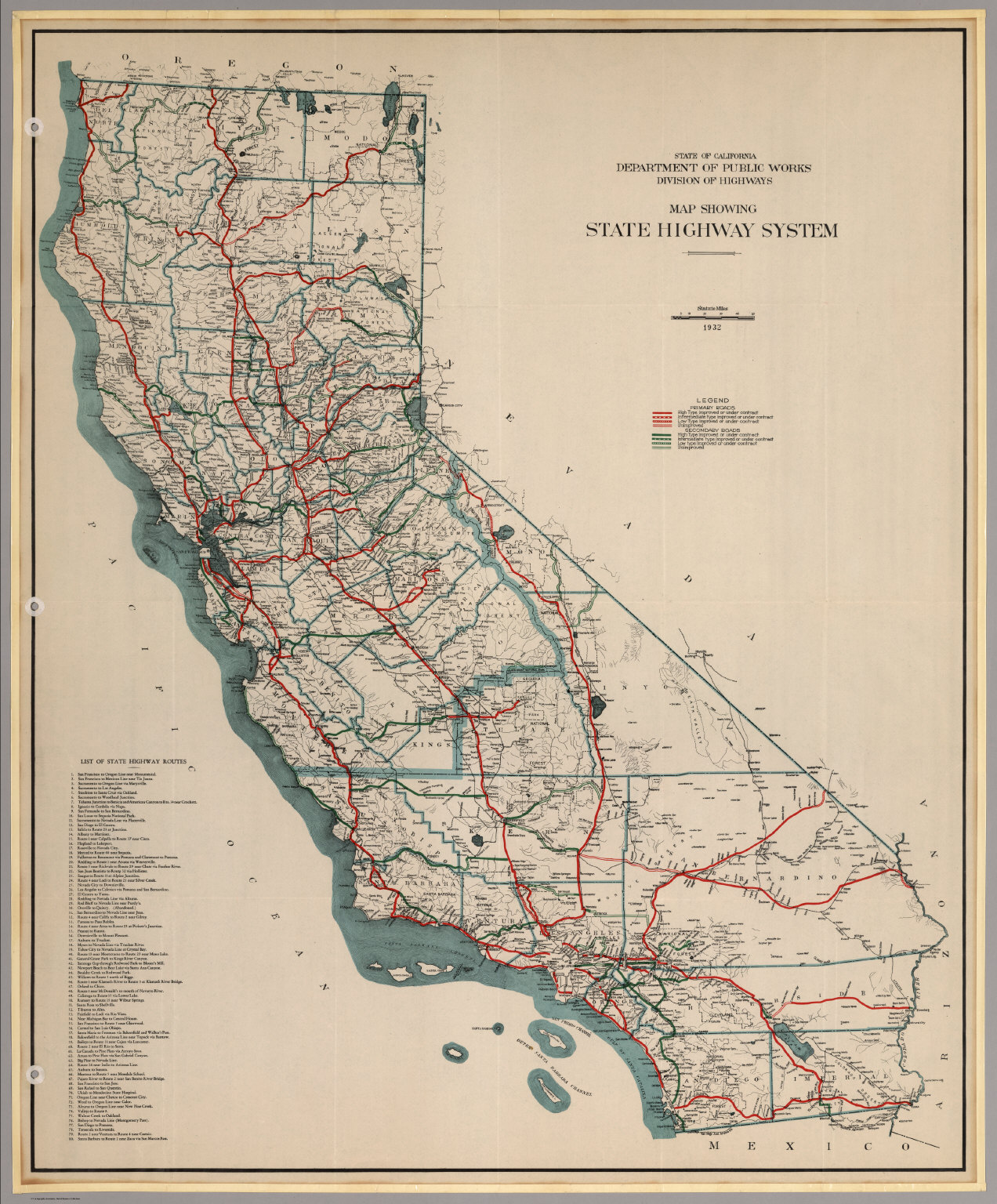 Map Showing State Highway System (California), 1932.