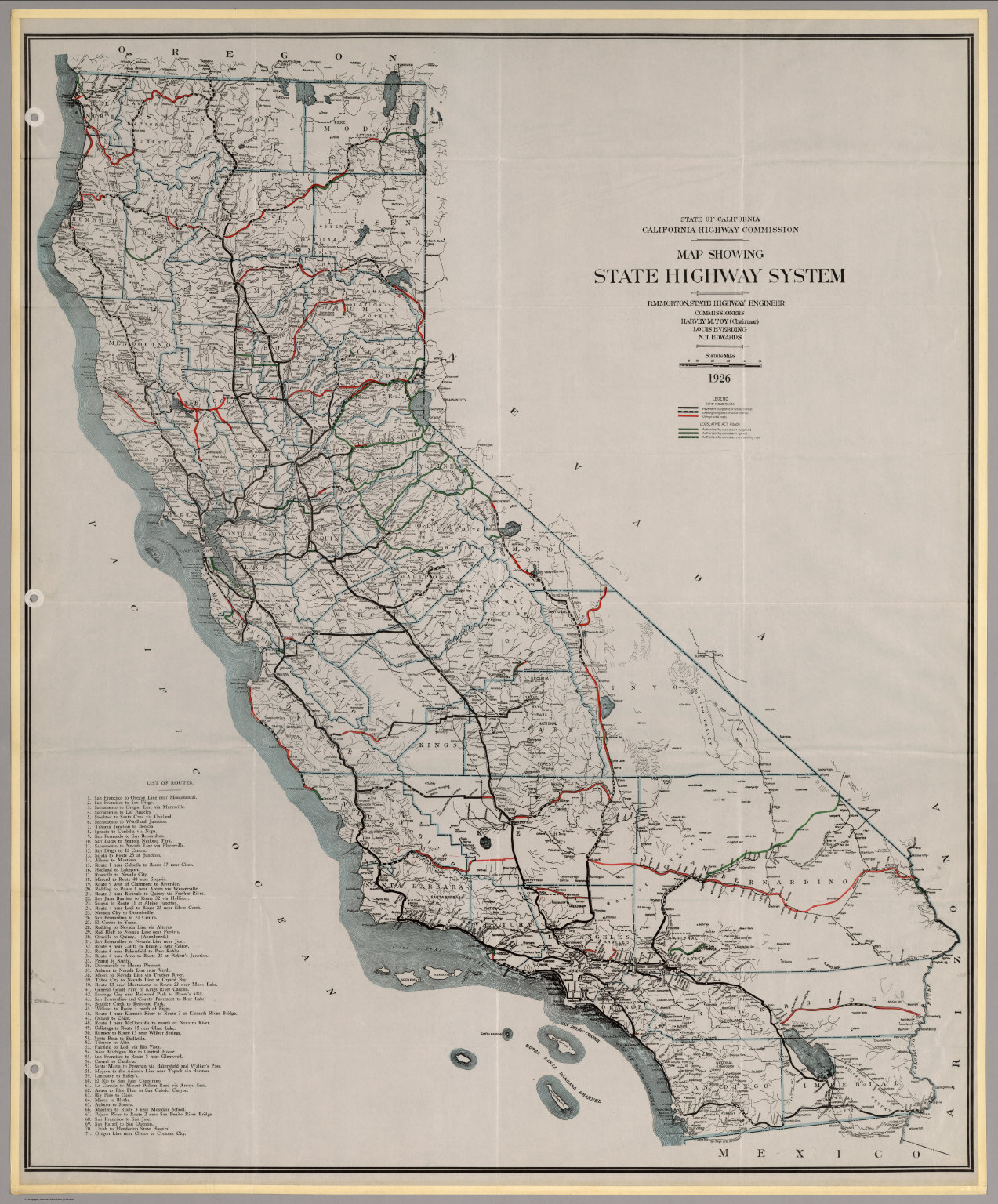 Map Showing State Highway System (California), 1926.