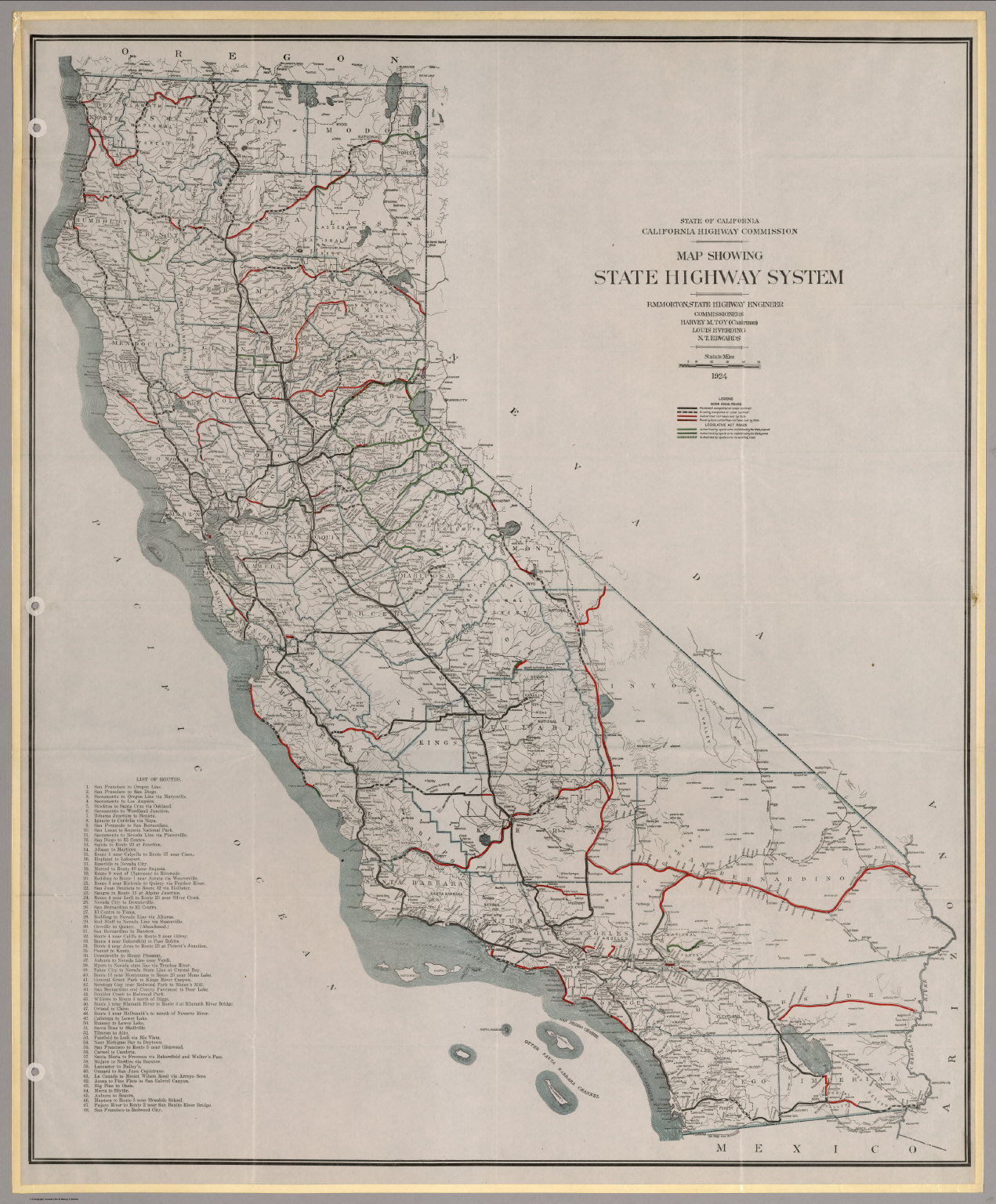 Map Showing State Highway System (California), 1924.