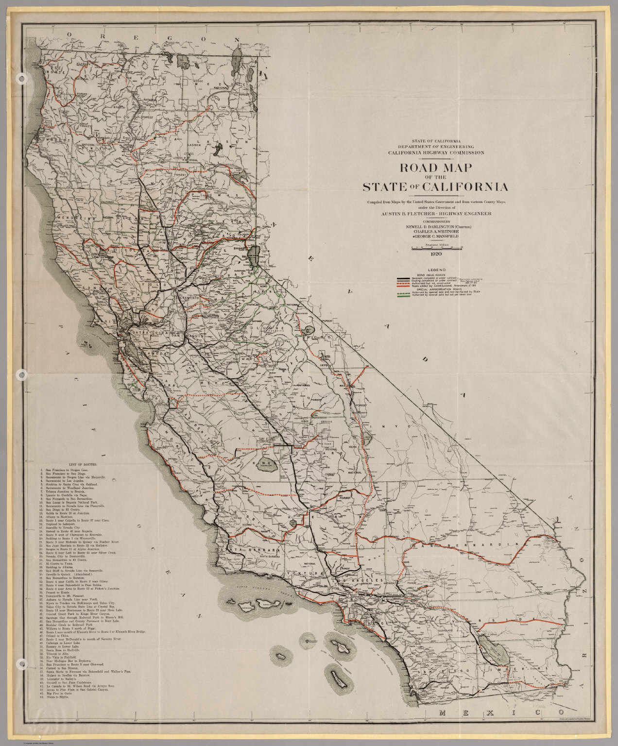 Road Map of the State of California, 1920. - David Rumsey Historical California S Map on