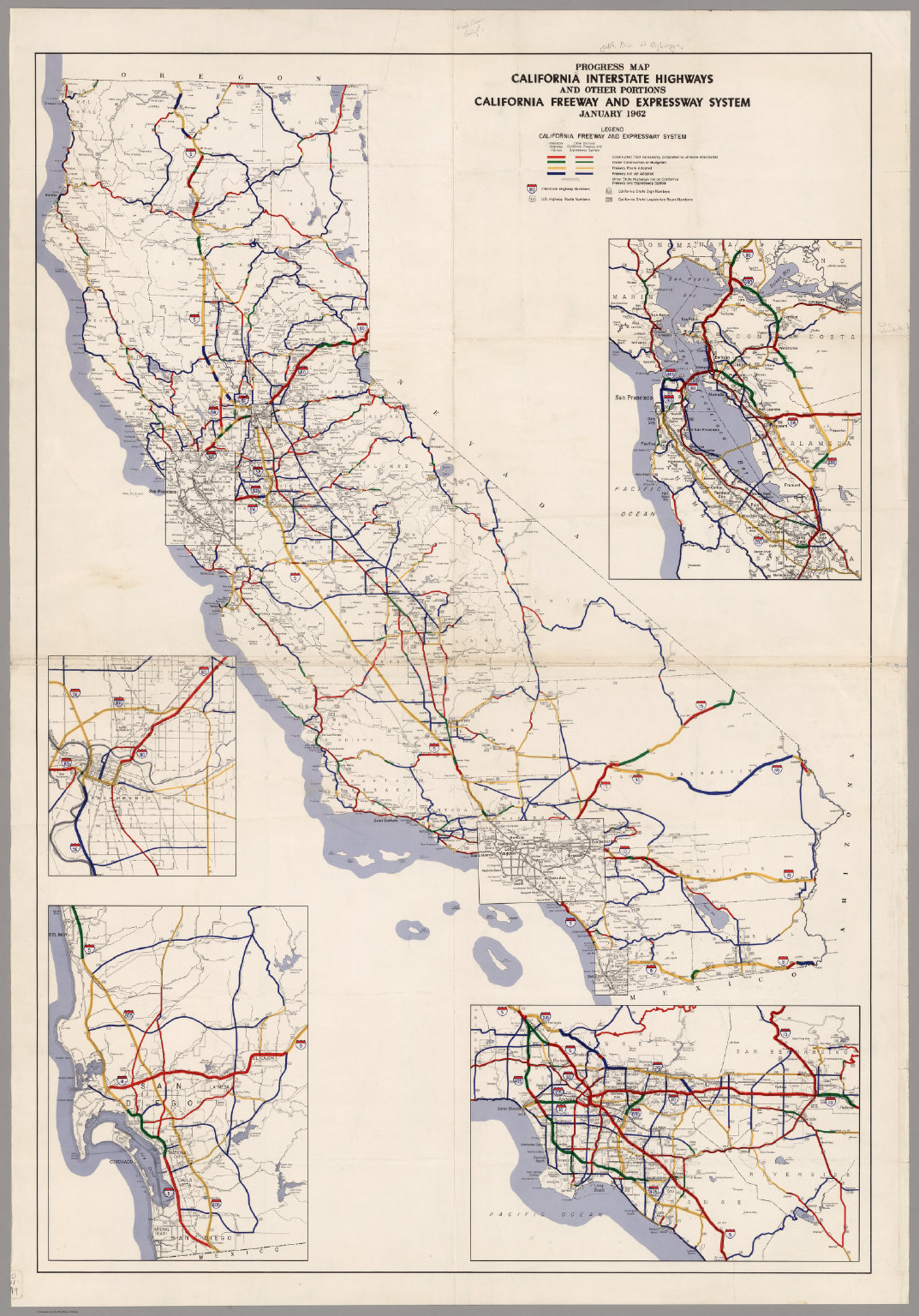 Progress Map, California Interstate Highways and Other Portions, May 1962.