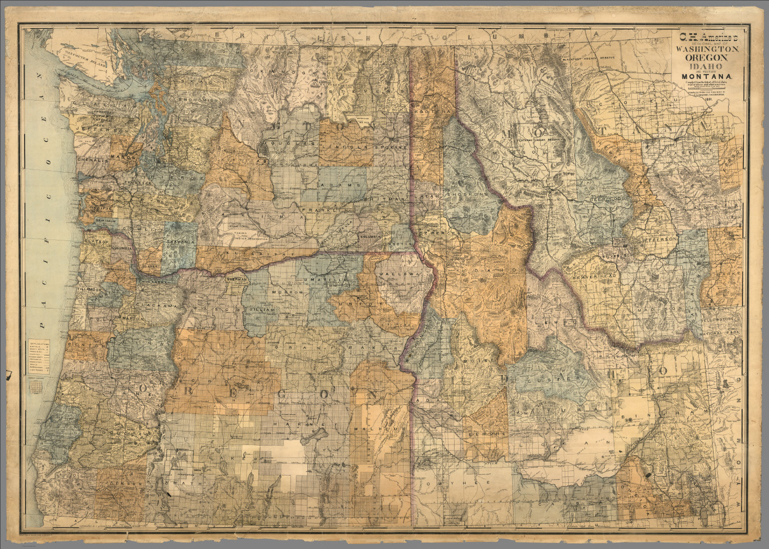 Sectional map of Washington, Oregon, Idaho, and western Montana ...