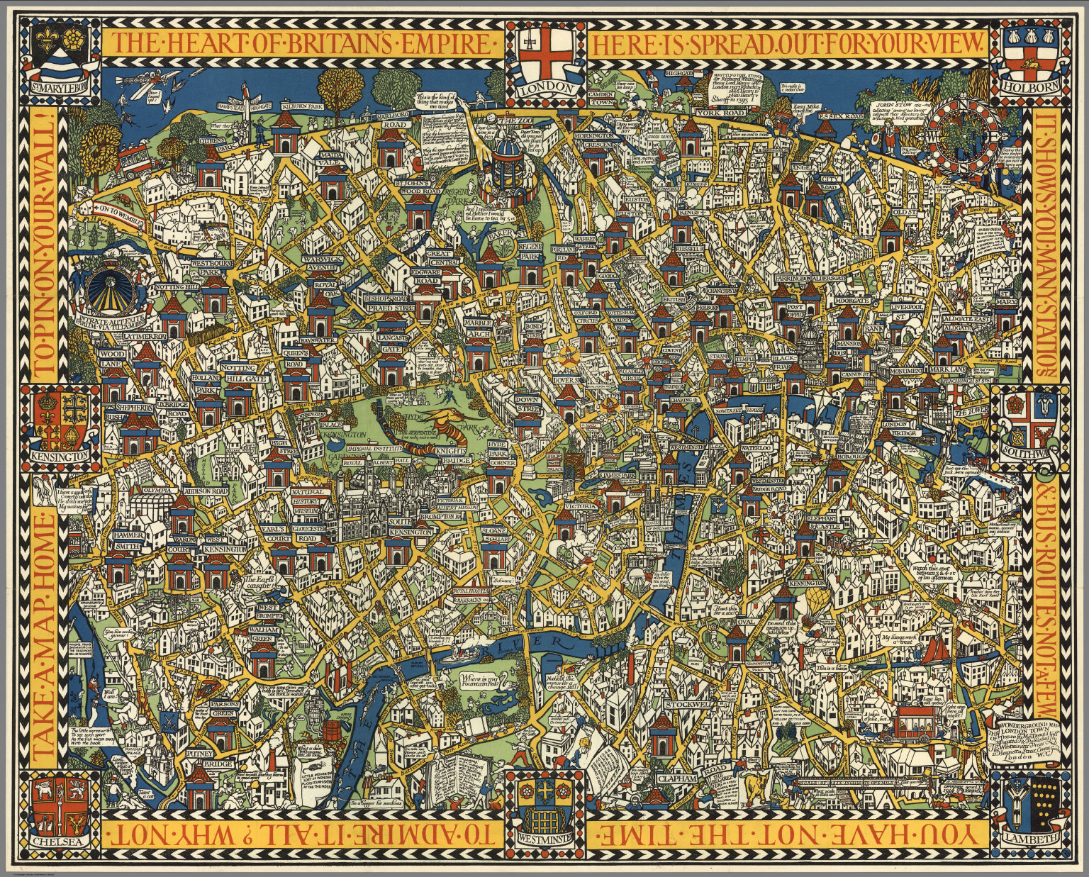London Town Map.The Famous Wonderground Map Of London Town David Rumsey