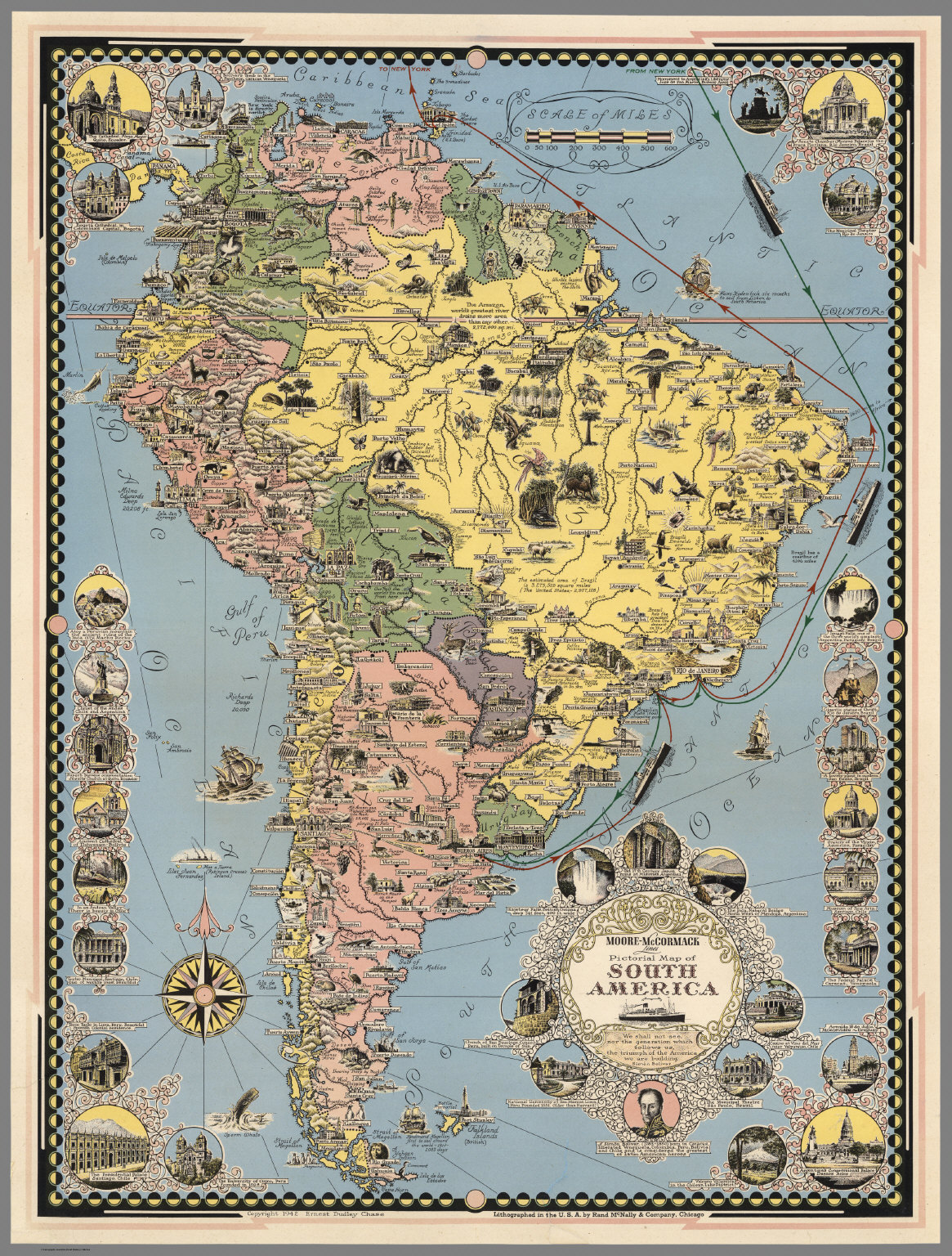 MooreMcCormack Lines Pictorial Map of South America David