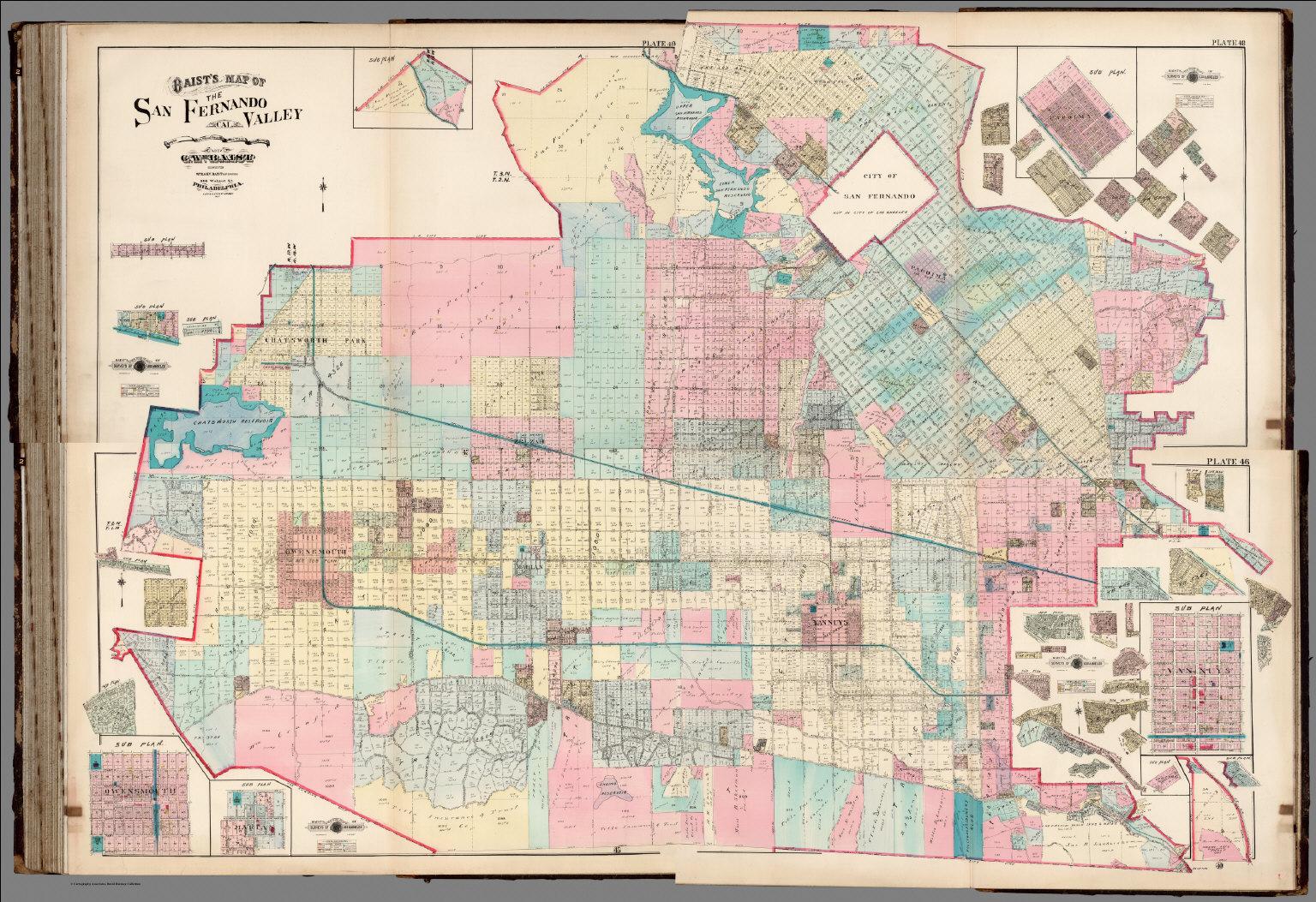 San Fernando Valley Map Composite: Baist's Map of the San Fernando Valley, Plates 46, 47  San Fernando Valley Map