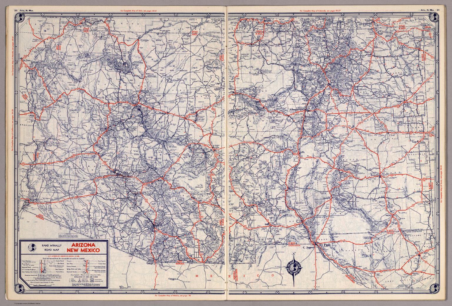 Rand McNally Road map: Arizona, New Mexico - David Rumsey Historical ...