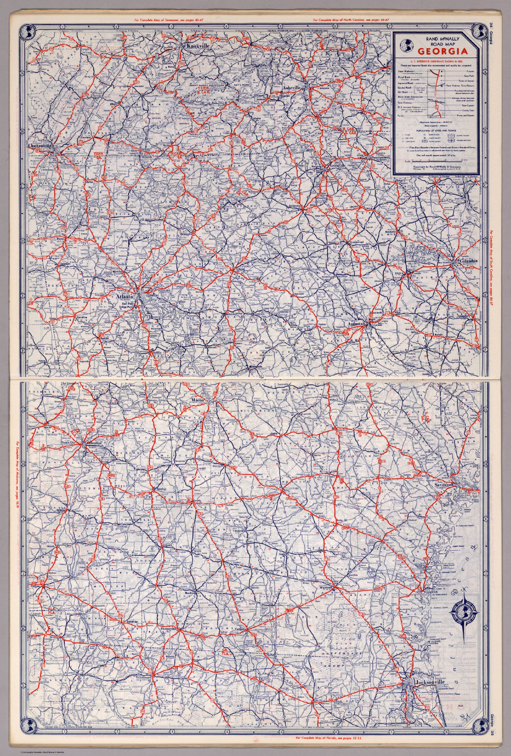 Highway Map Of Georgia.Rand Mcnally Road Map Georgia David Rumsey Historical Map Collection