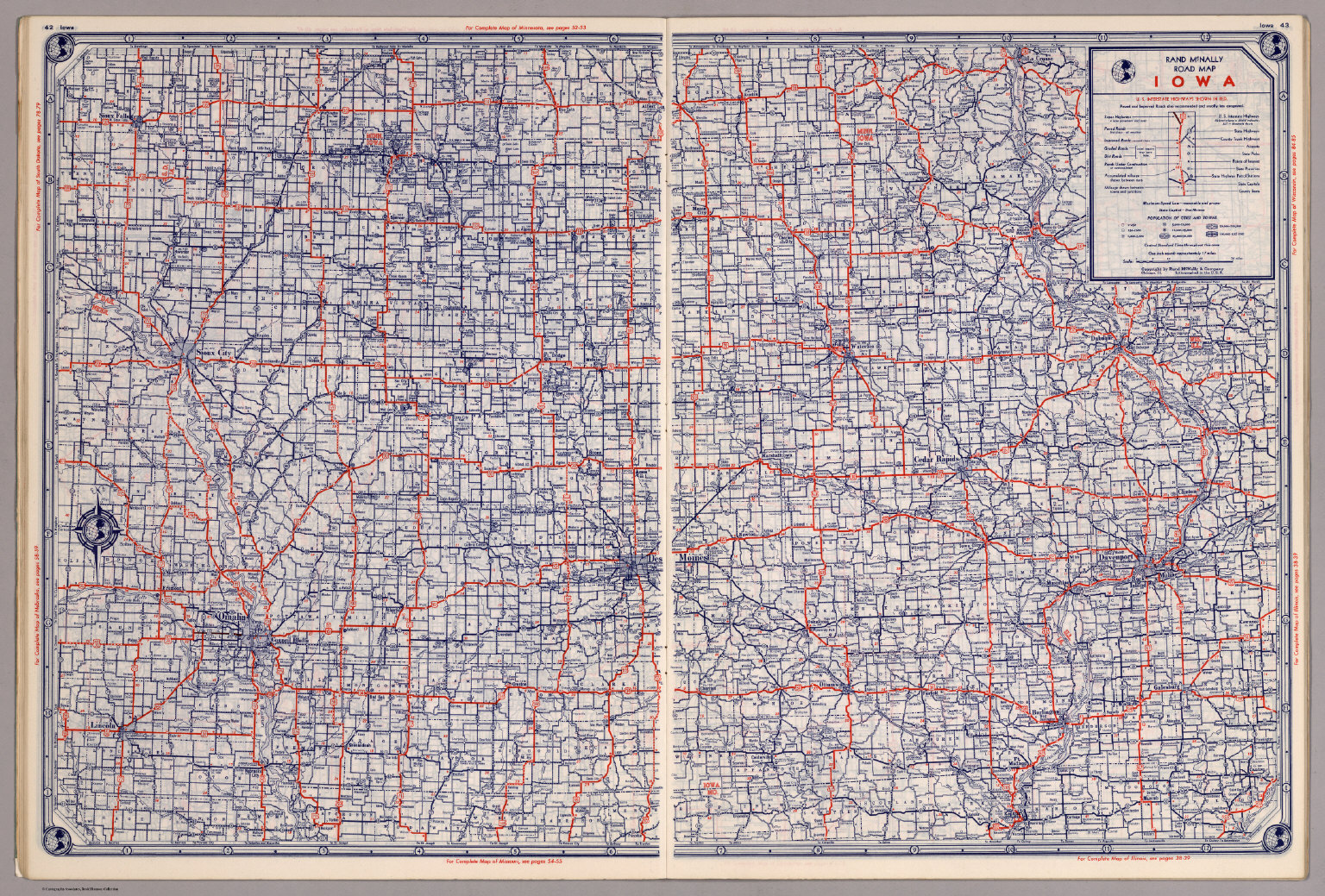 Rand McNally Road Map Iowa David Rumsey Historical Map Collection - Iowa road map