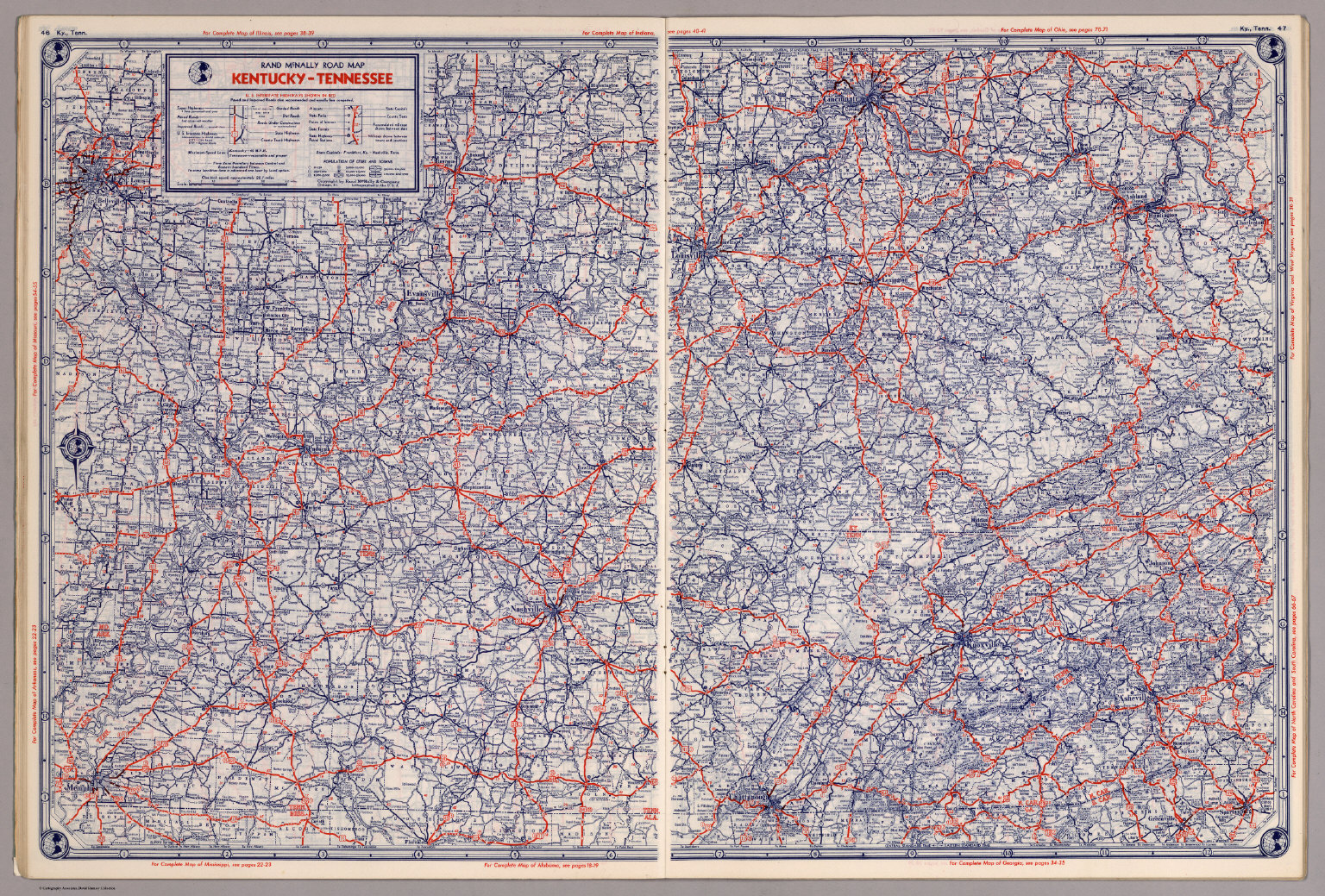 Rand McNally Road map: Kentucky - Tennessee - David Rumsey ...