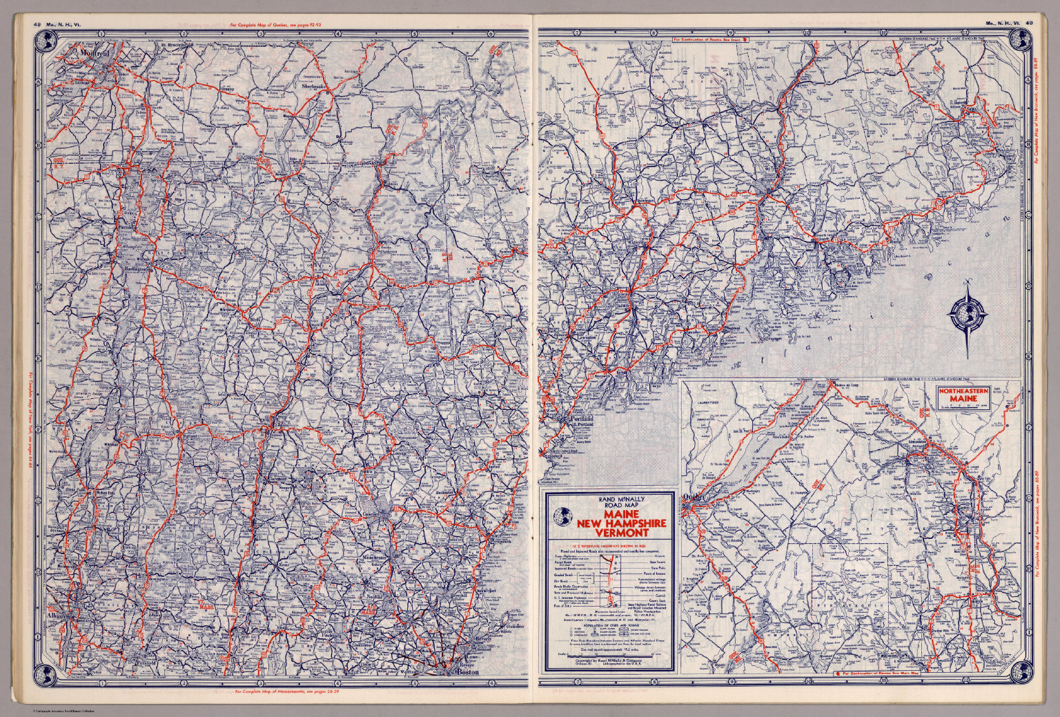 Rand McNally Road map Maine New Hampshire Vermont David Rumsey