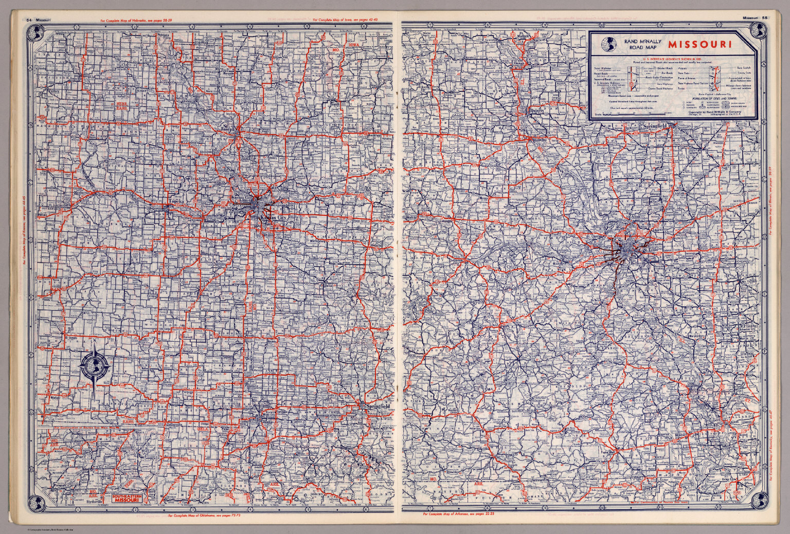 Rand McNally Road Map Missouri David Rumsey Historical Map - Missouri road map