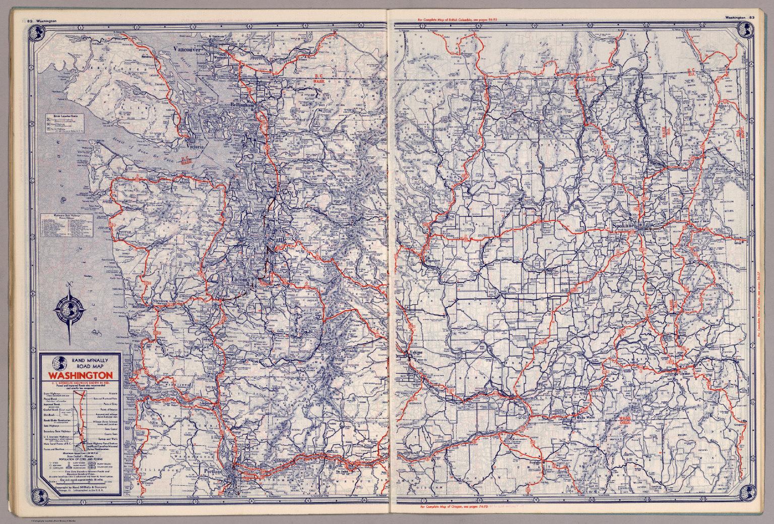 Rand Mcnally Road Map Washington David Rumsey Historical Map