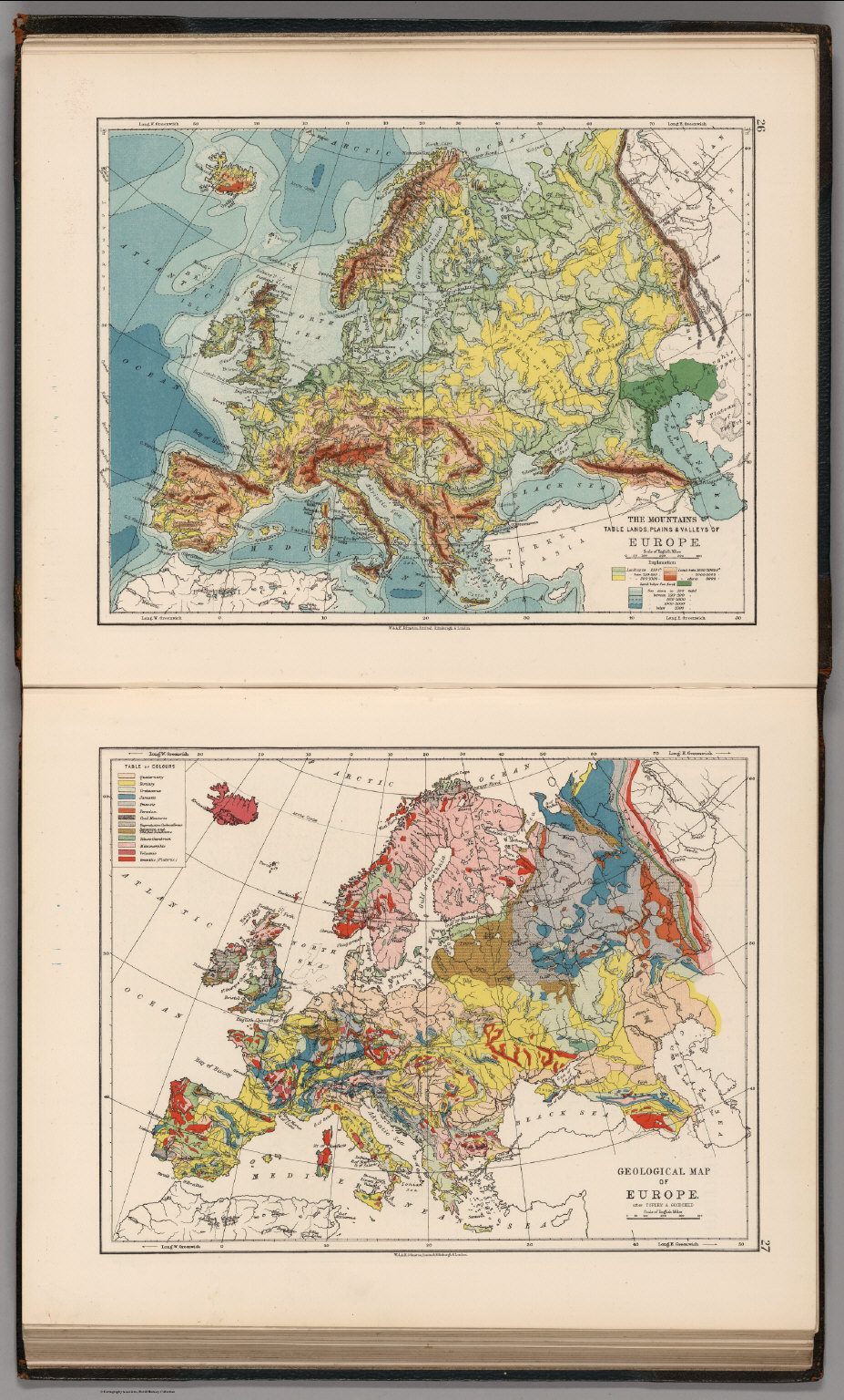 Mountains Table Lands Plains Valleys Of Europe Geological Map