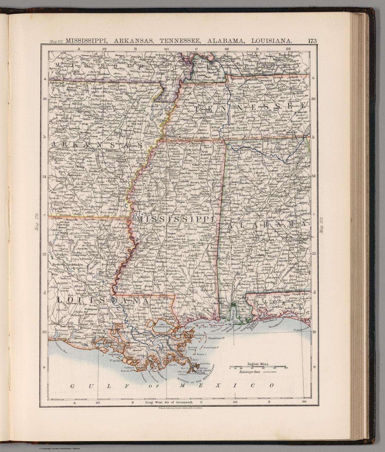 Arkansas And Louisiana Map.Mississippi Arkansas Tennessee Alabama Louisiana David Rumsey