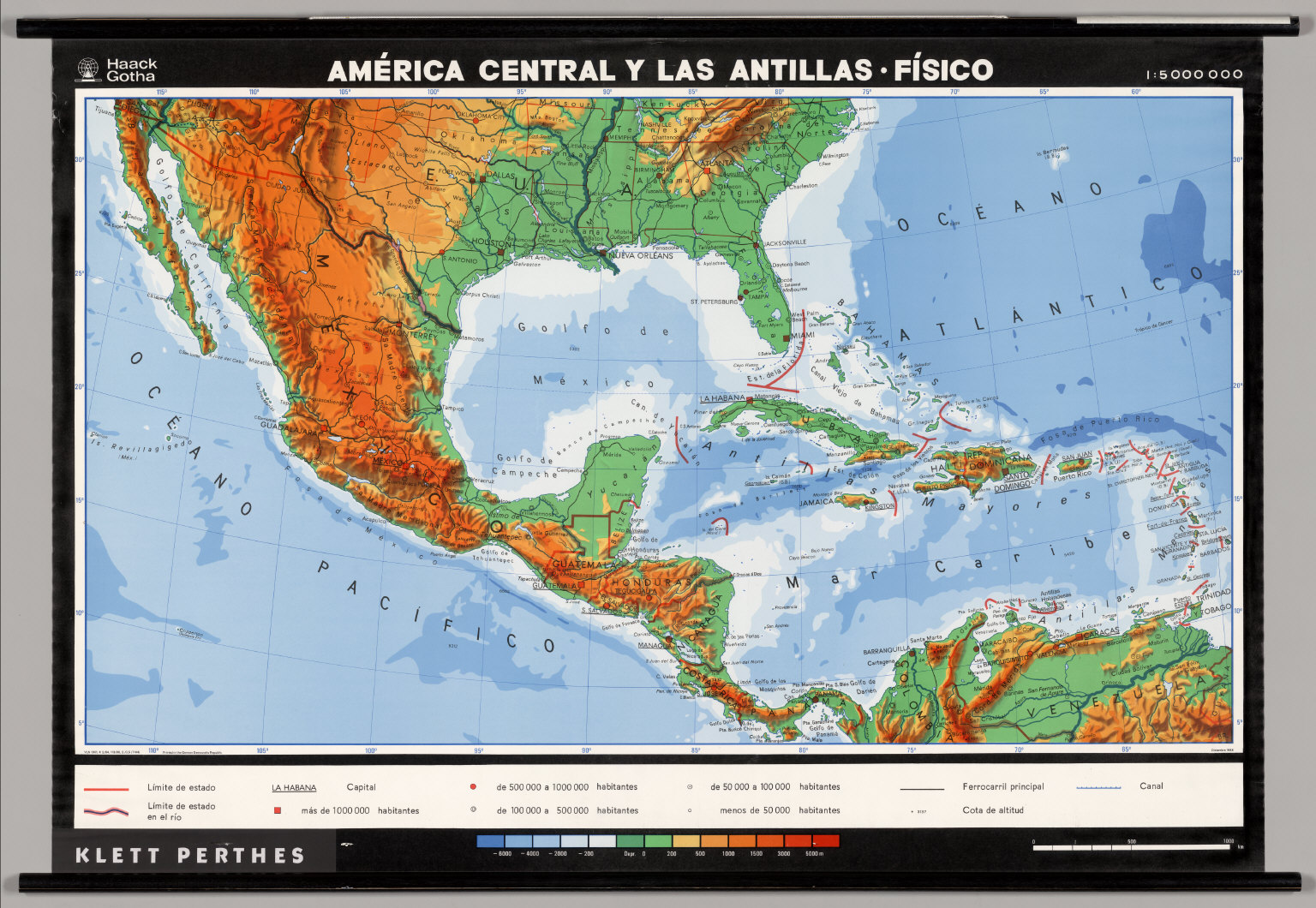 Central America, The Antilles -- Physical. - David Rumsey Historical ...