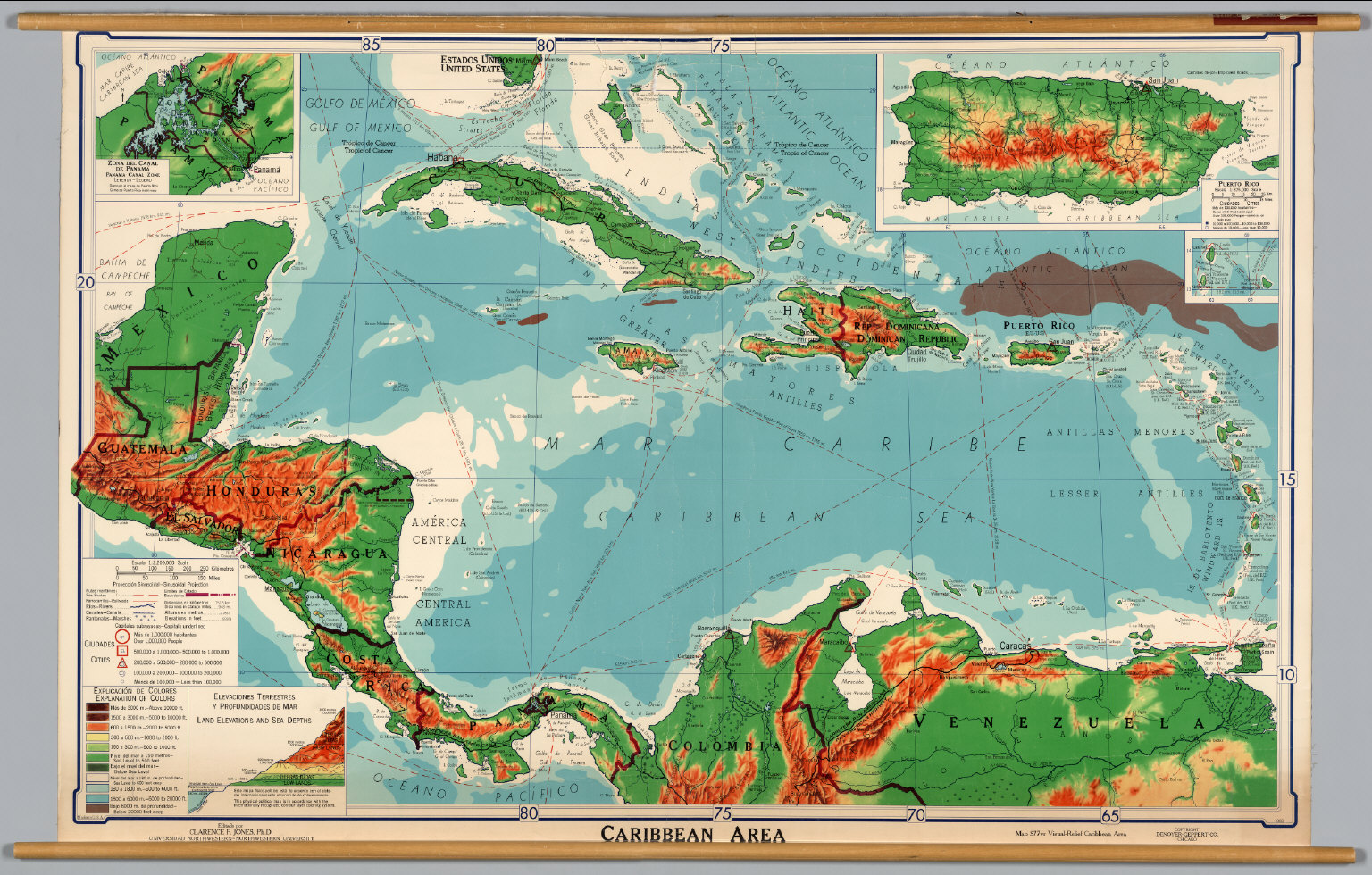 Caribbean -- Physical-Political. - David Rumsey Historical Map ...