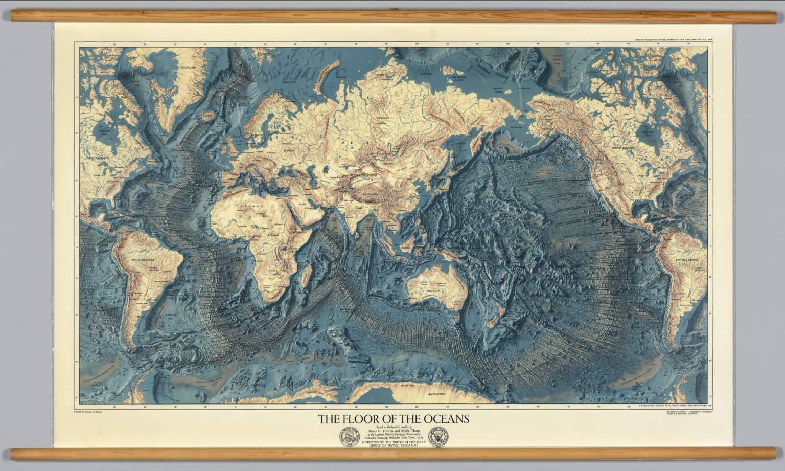 Map Of World And Oceans.World Ocean Floors And Land Relief David Rumsey Historical Map