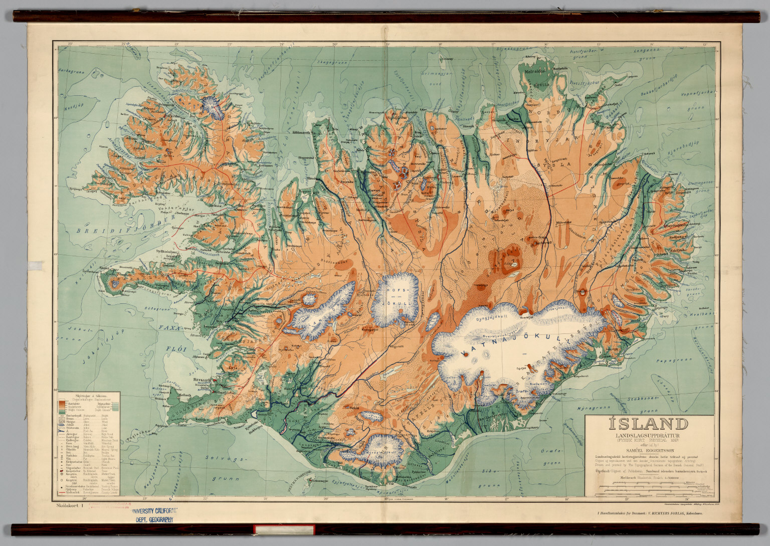 Iceland physical political david rumsey historical map collection iceland physical political publicscrutiny Gallery