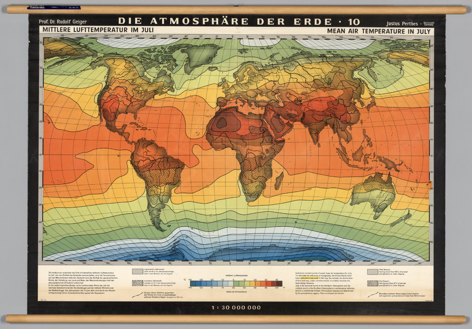 World Atmosphere Average July Temperature David Rumsey